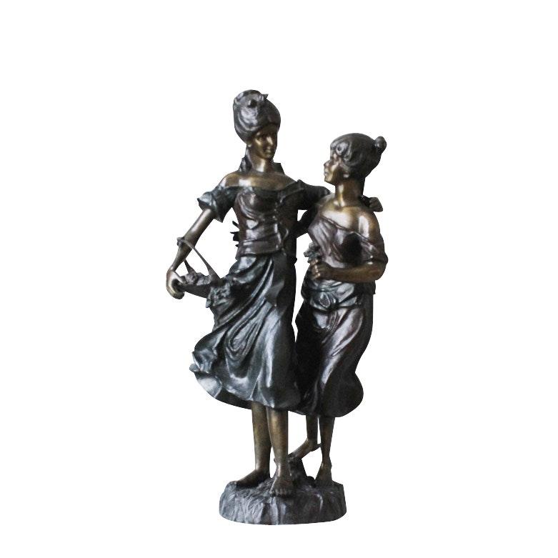 "Bronze Sculpture After Auguste Moreau ""After the Harvest"""