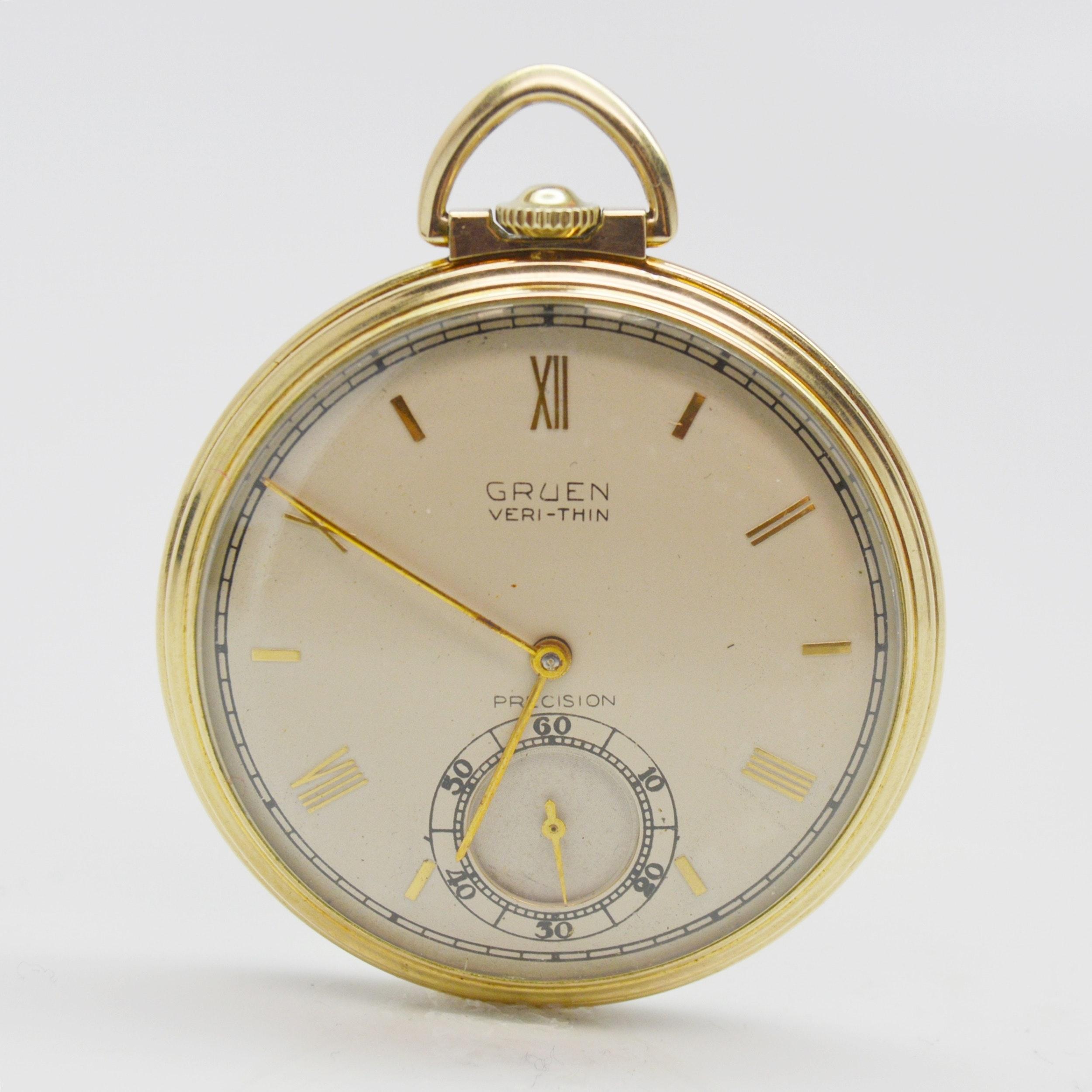 10K Gold Filled Gruen Veri-Thin Precision Open Face Pocket Watch