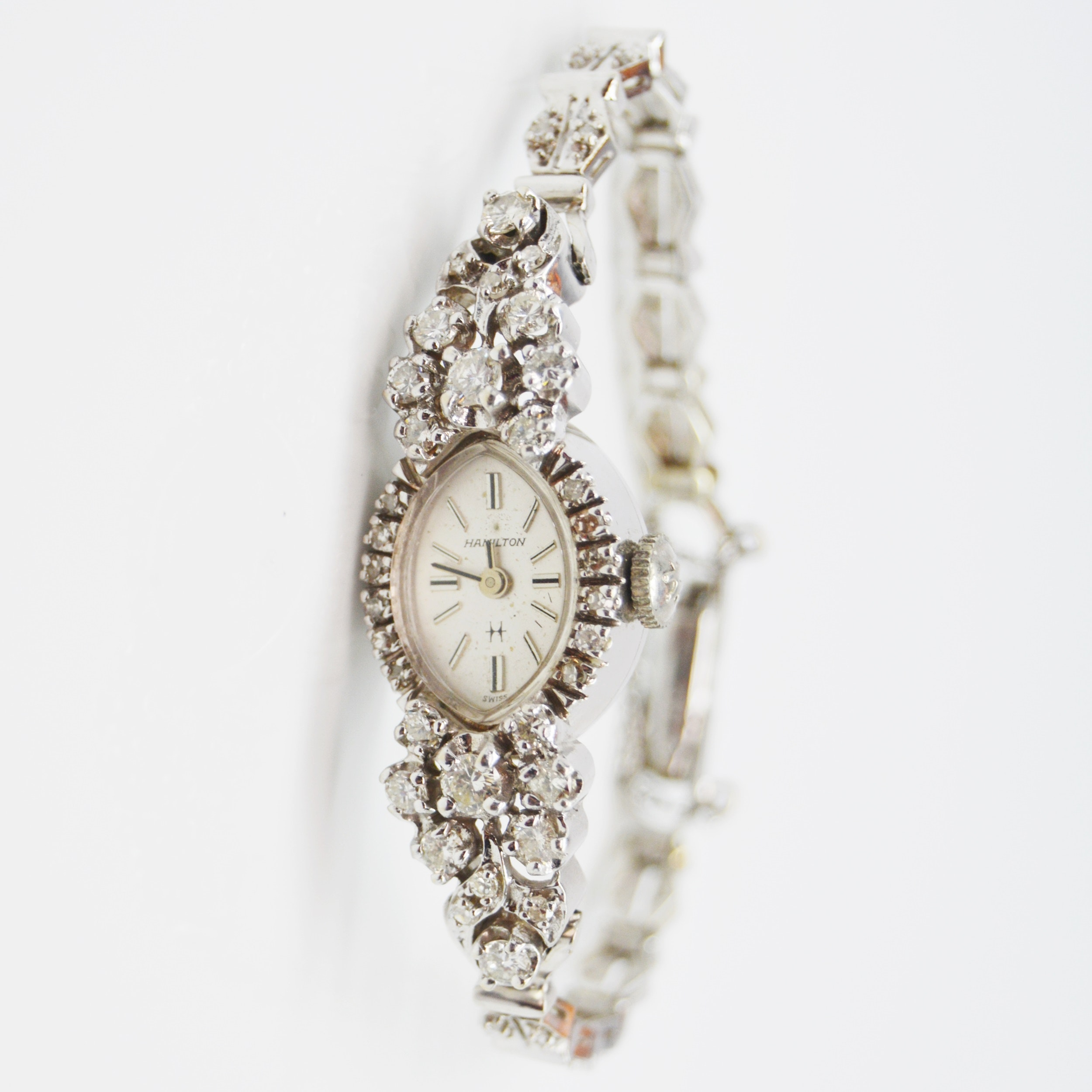 14K White Gold and 1.22 CTW Diamond Hamilton Wristwatch