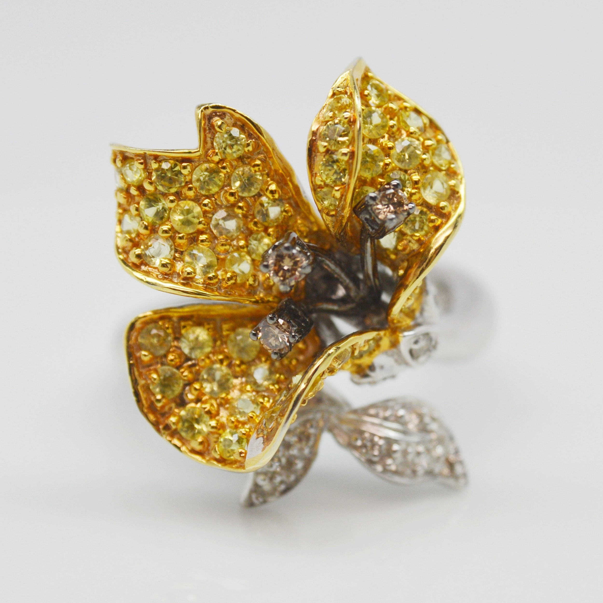 14K White Gold Yellow Sapphire and Diamond Floral Ring