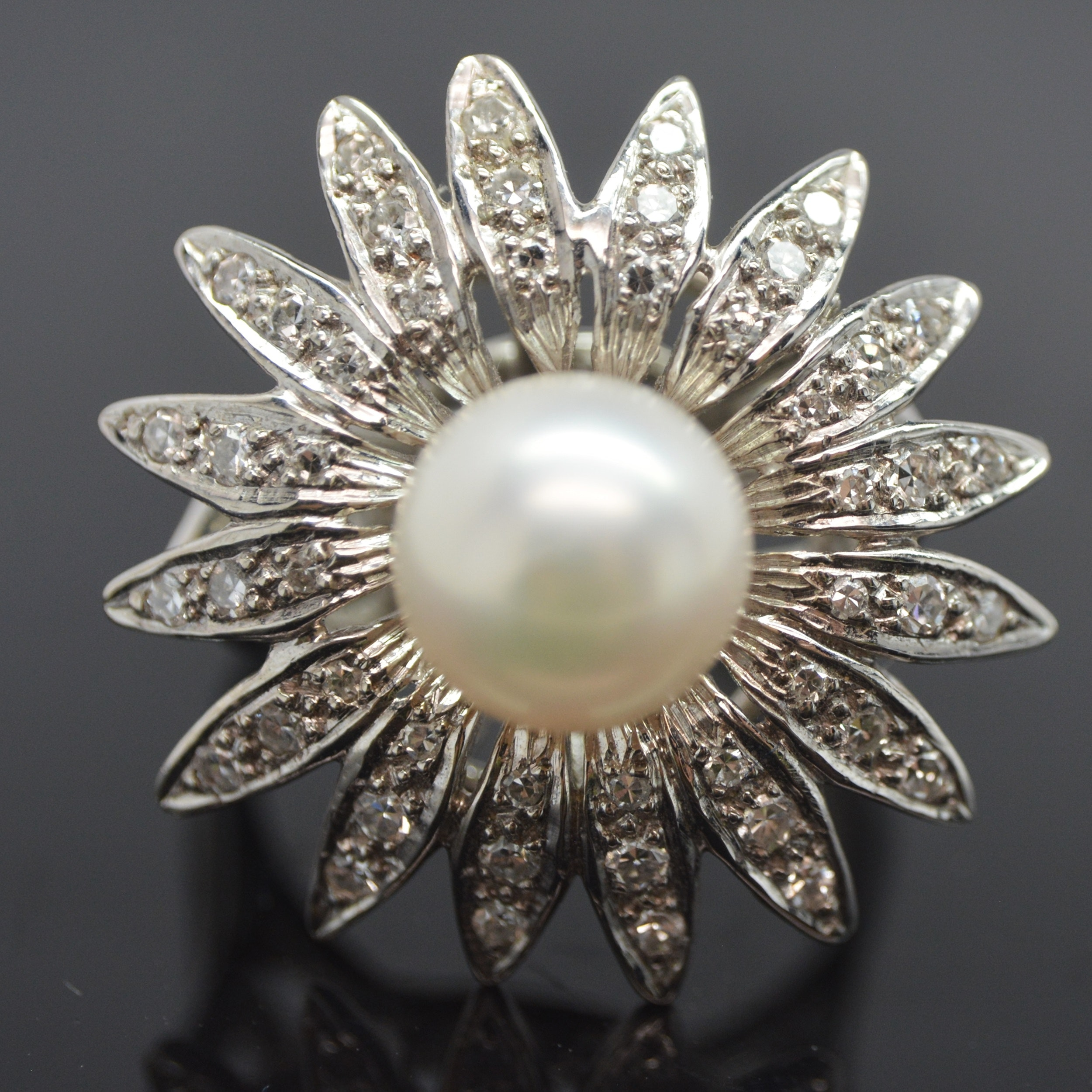 14K White Gold Cultured Pearl and Diamond Floral Ring