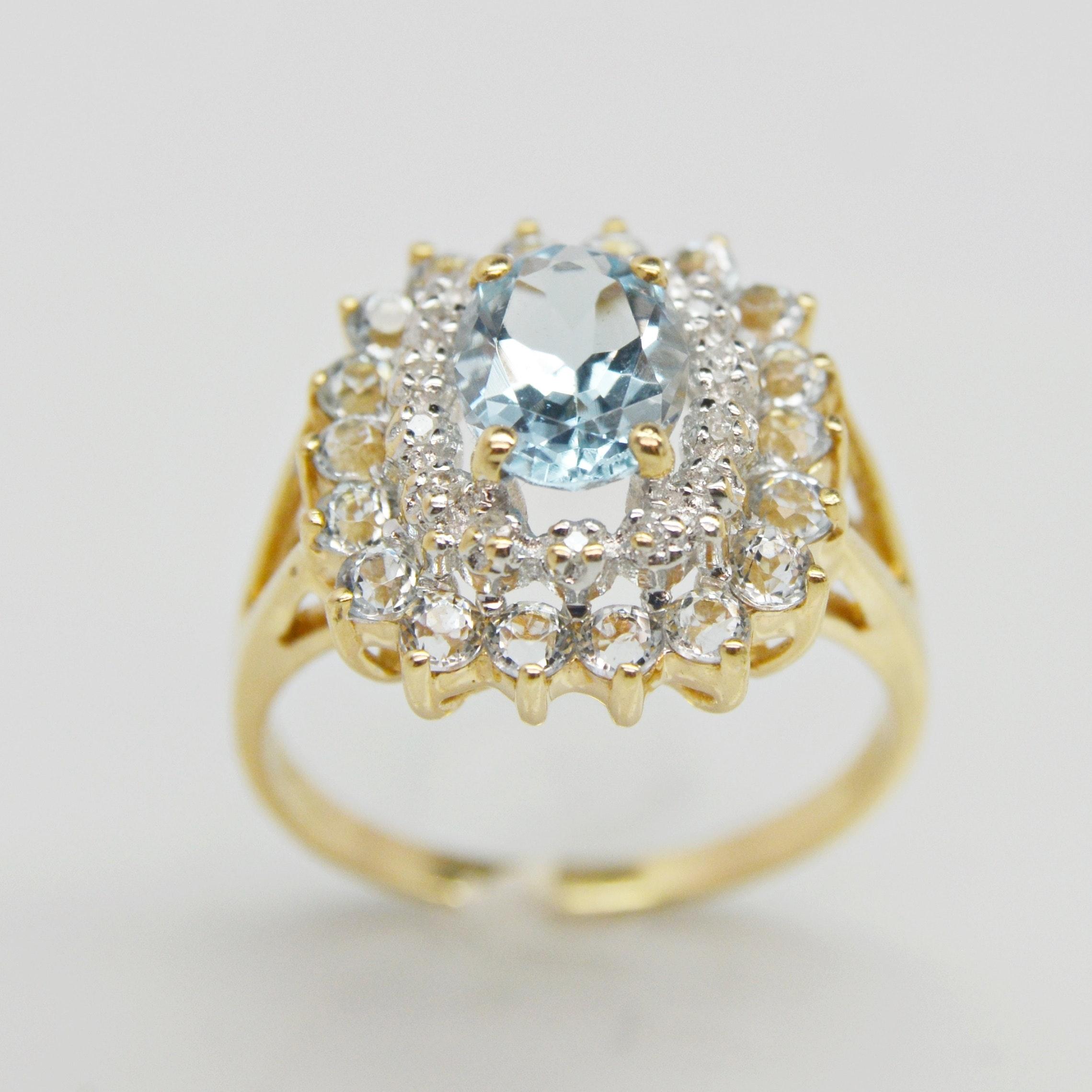 10K Yellow Gold Aquamarine and Diamond Halo Ring