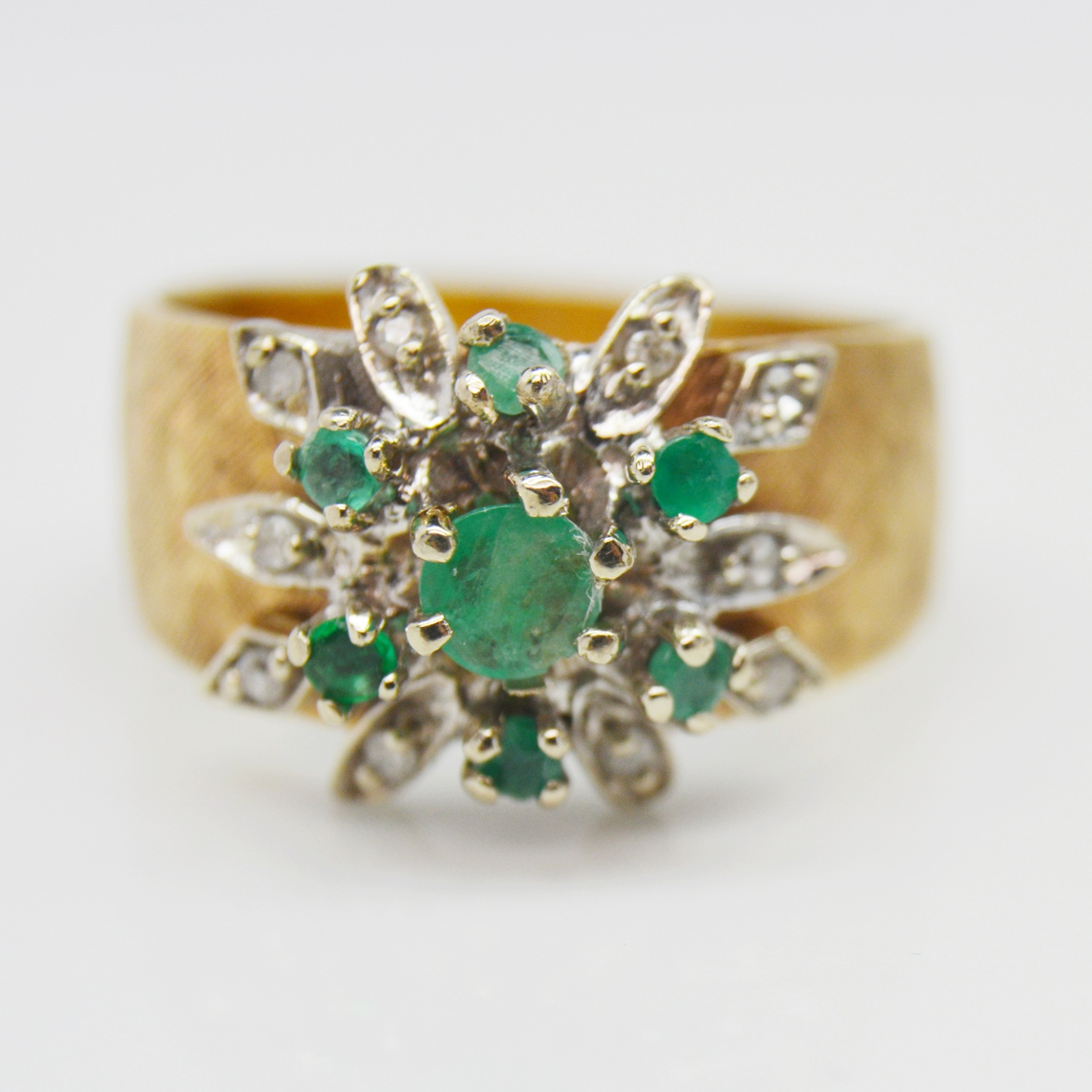 14K Yellow Gold Emerald and Diamond Textured Shank Ring