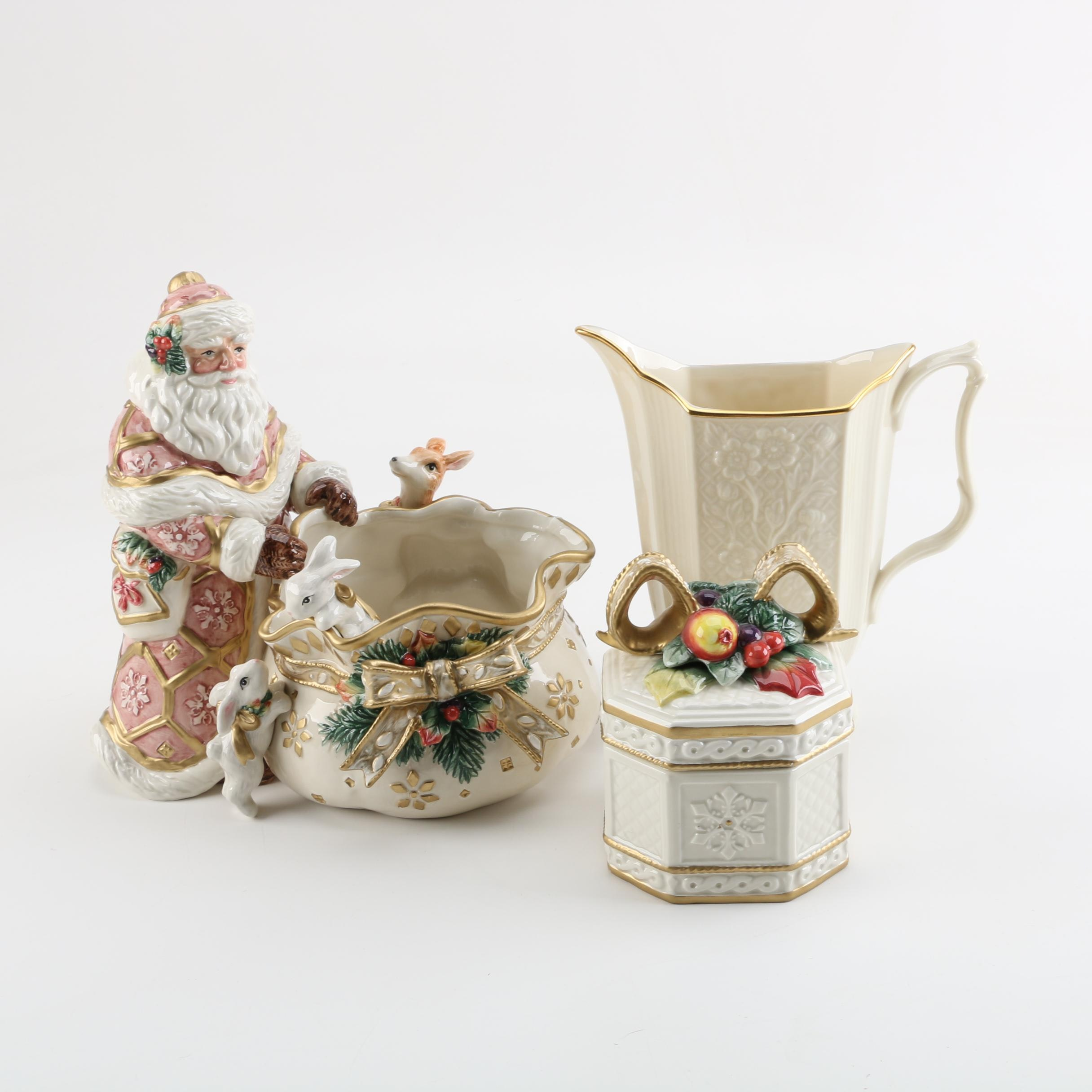 """Christmas Table Accessories Including Fitz and Floyd """"Snowy Woods"""" and Lenox"""