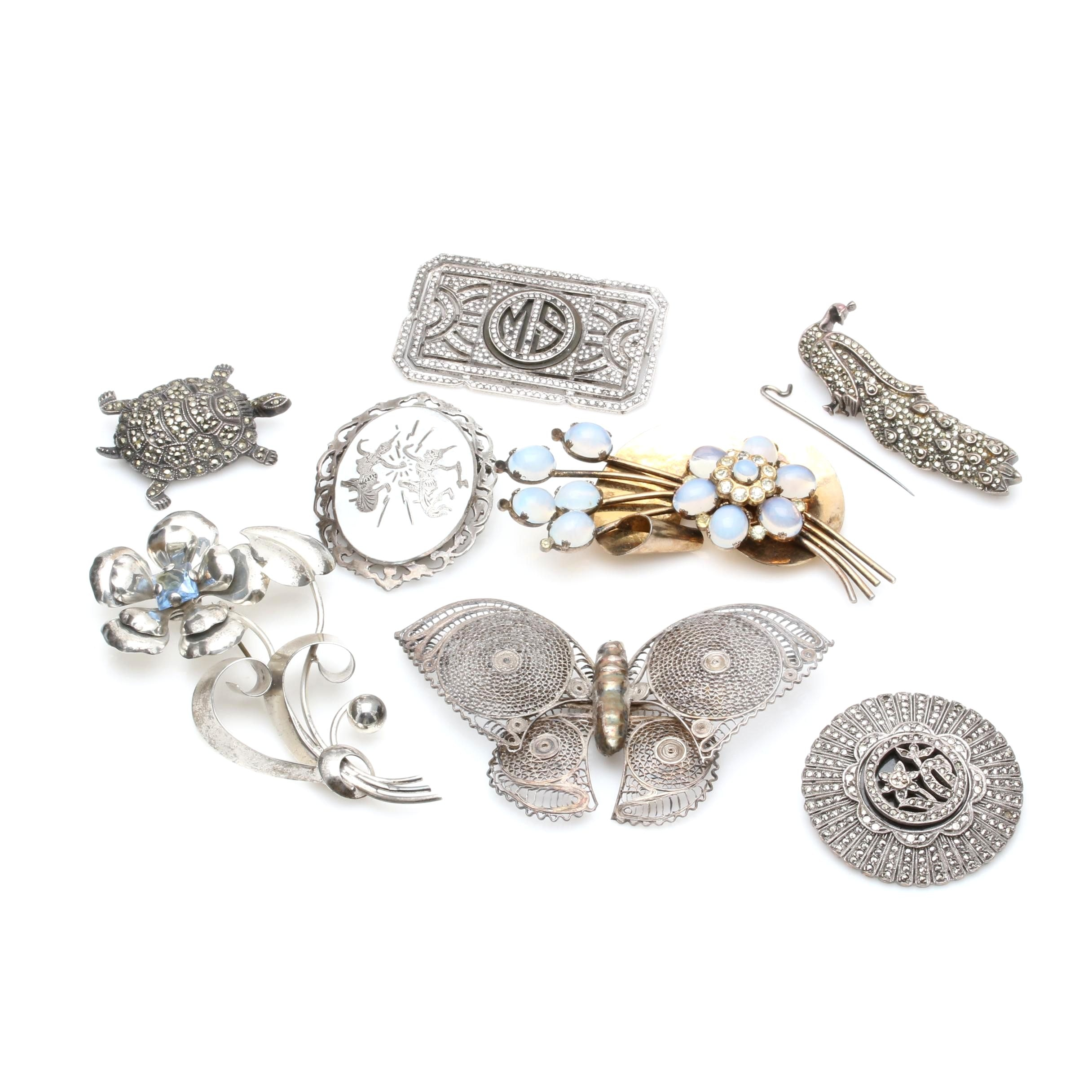 Sterling Silver Brooch Assortment Including Marcasite