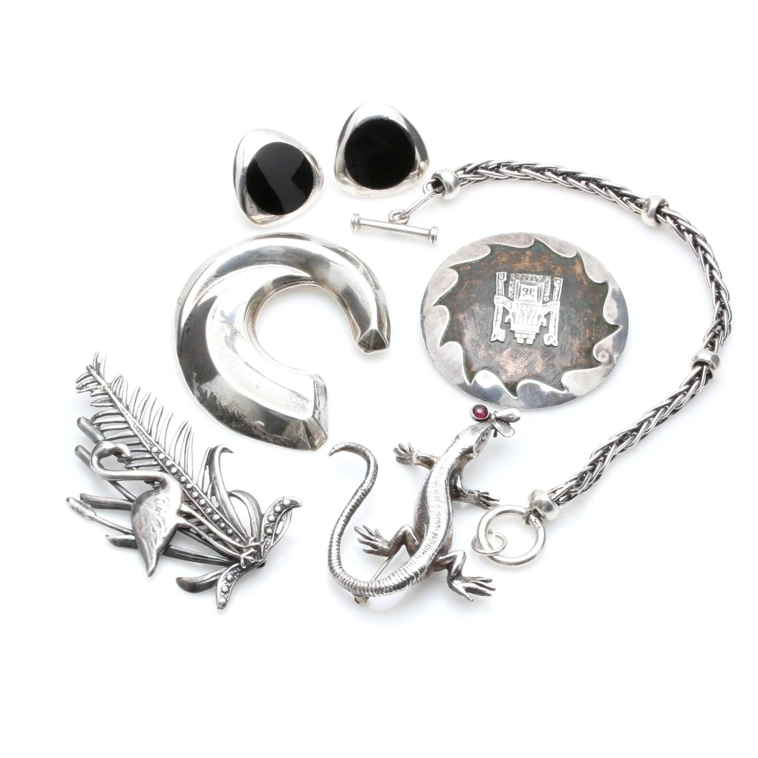 Sterling Silver Gemstone Earrings, Bracelets And Brooches