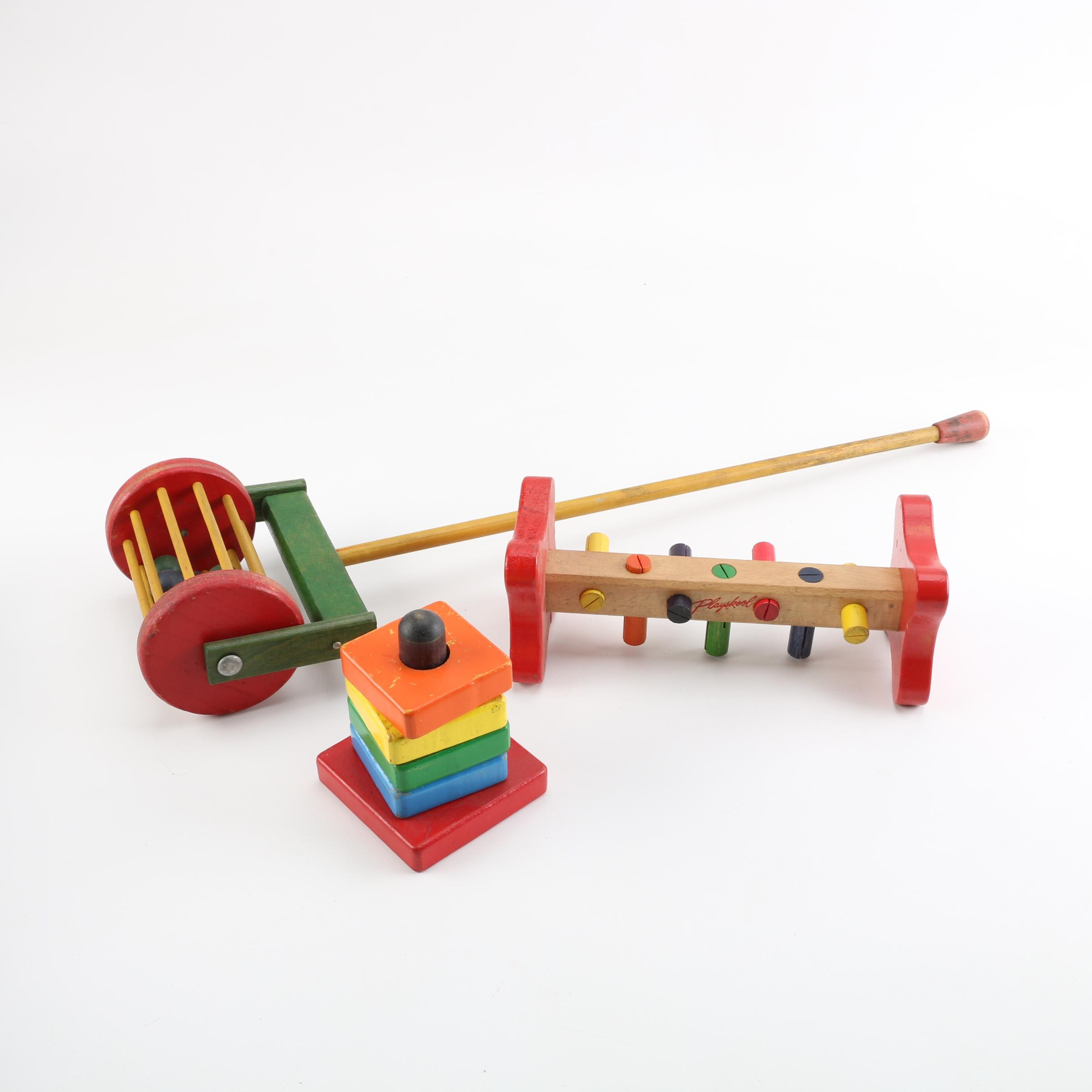 Vintage Colorful Wooden Preschool Age Toys