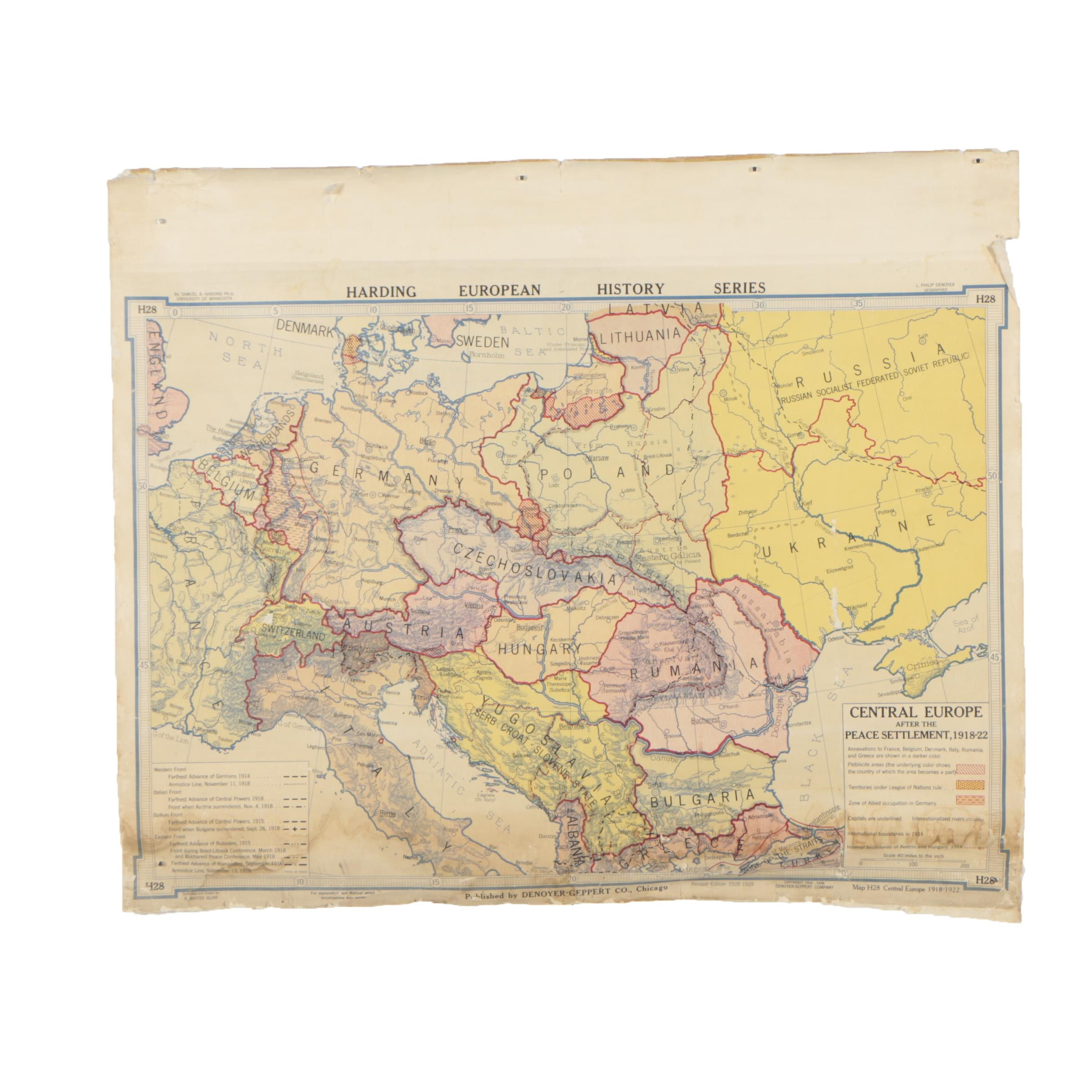 Vintage Wall Map of Central Europe After the Peace Settlement