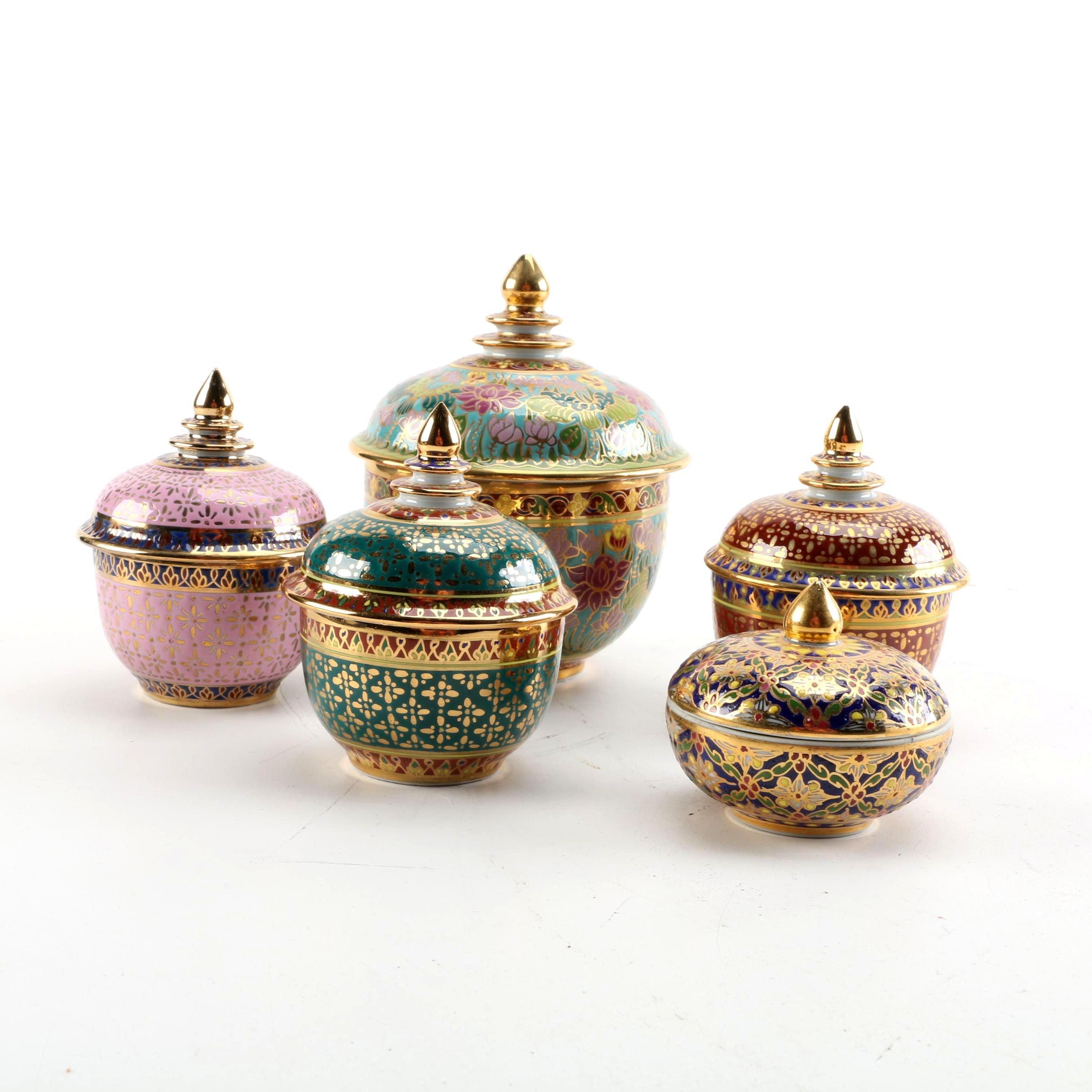 Thai Decorative Porcelain Trinket Boxes