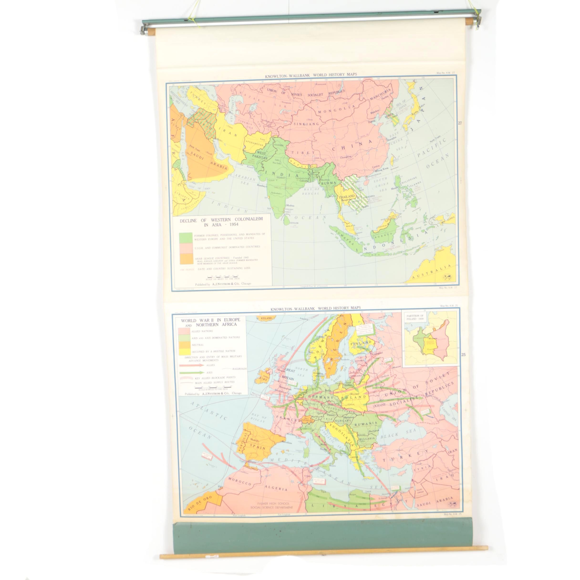 Vintage Knowlton-Wallbank Dual Wall Map of World History