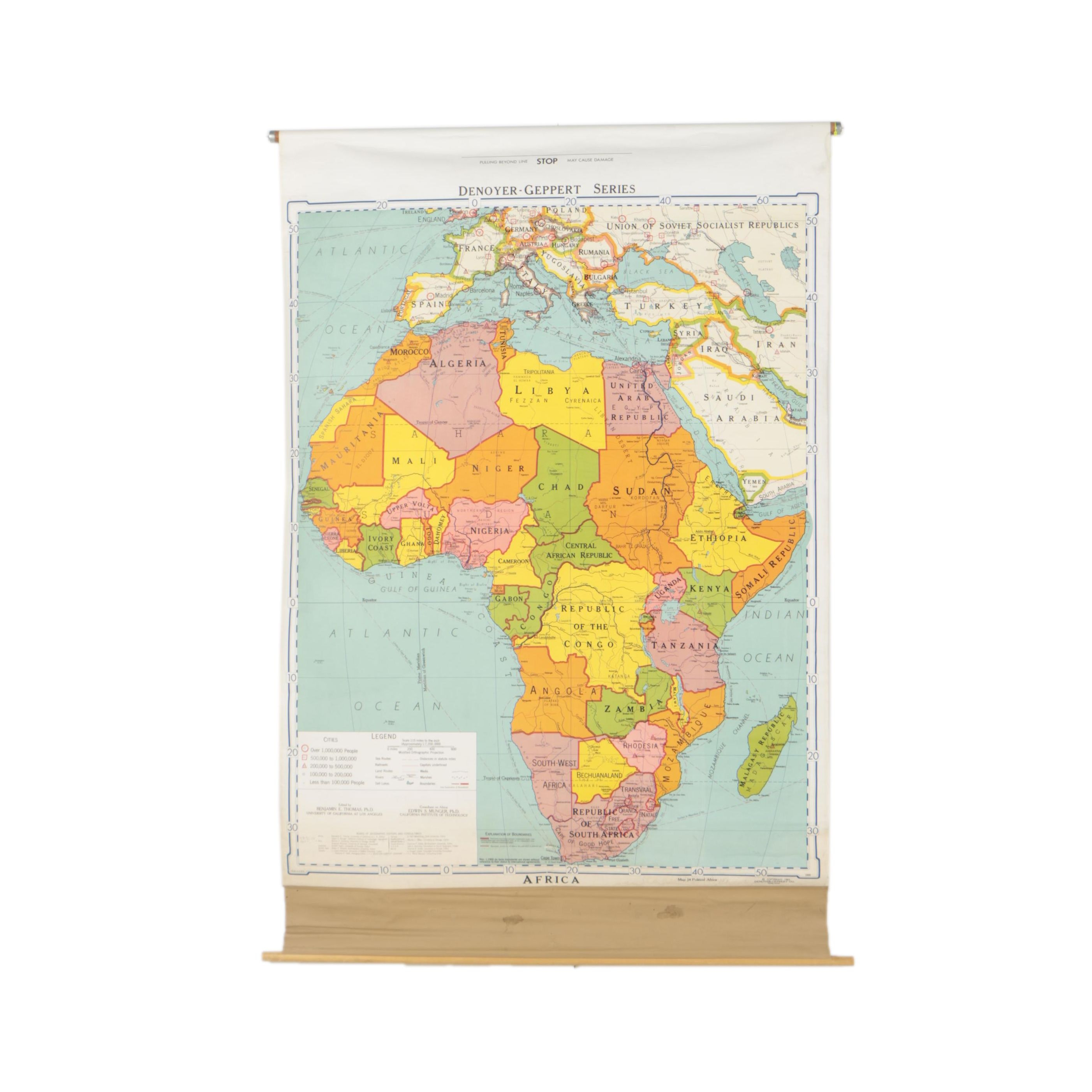 1966 Denoyer-Geppert Color Lithograph Wall Map of Africa