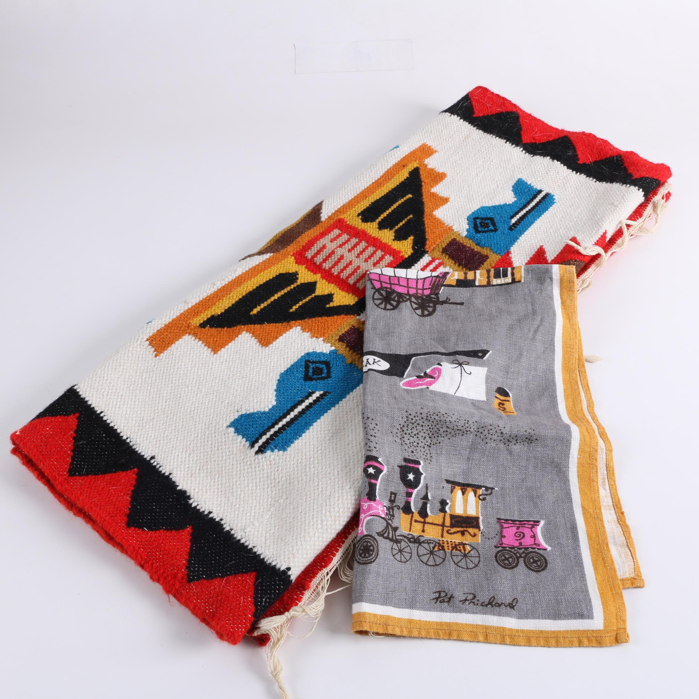 Handwoven Mexican-Style Wool Accent Rug and Vintage Dish Towel