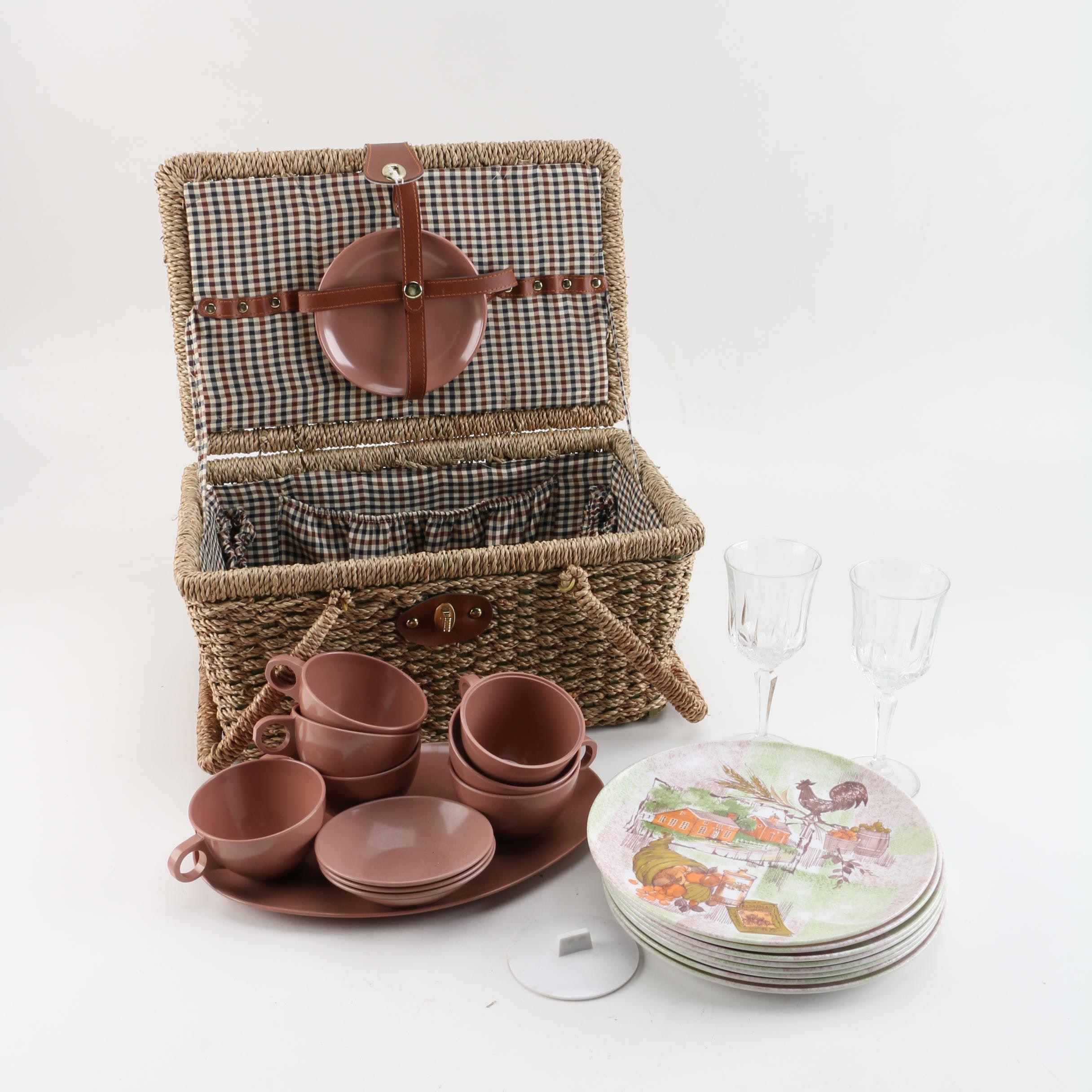 Picnic Basket with Wine Glasses and Dinnerware