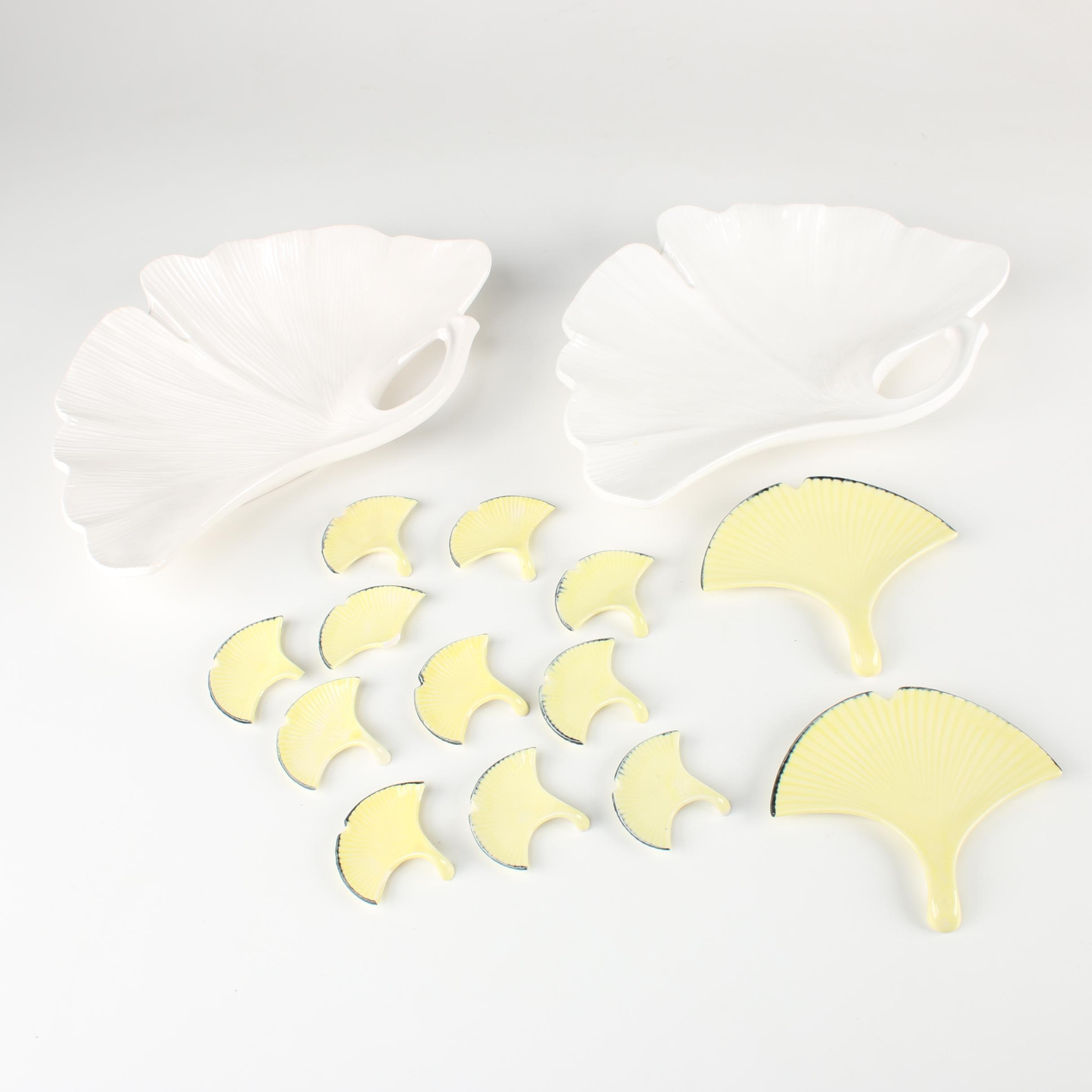 Mikasa and Pier1 Ginkgo Leaf Dishes