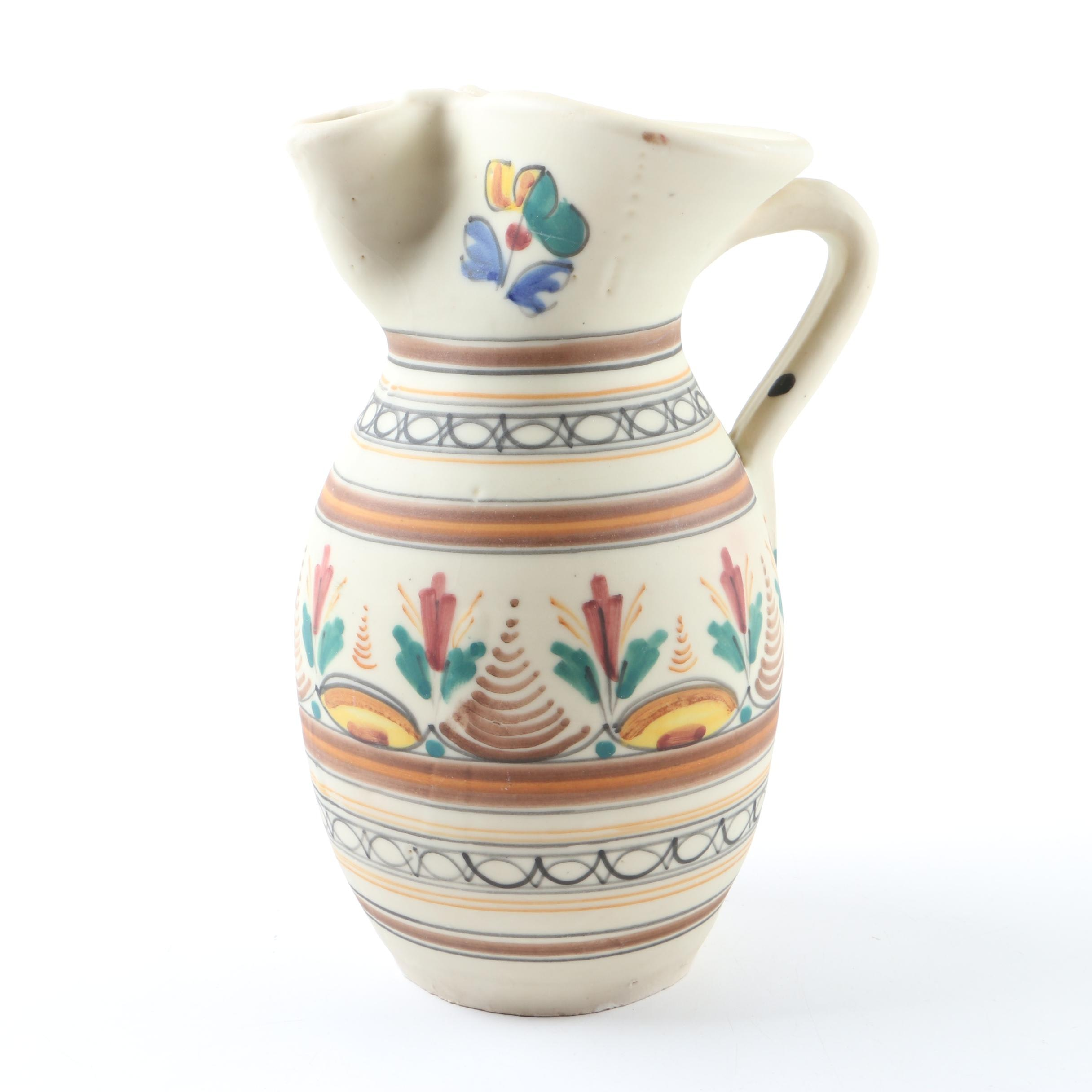 Wheel Thrown Hand-Painted Ceramic Pitcher