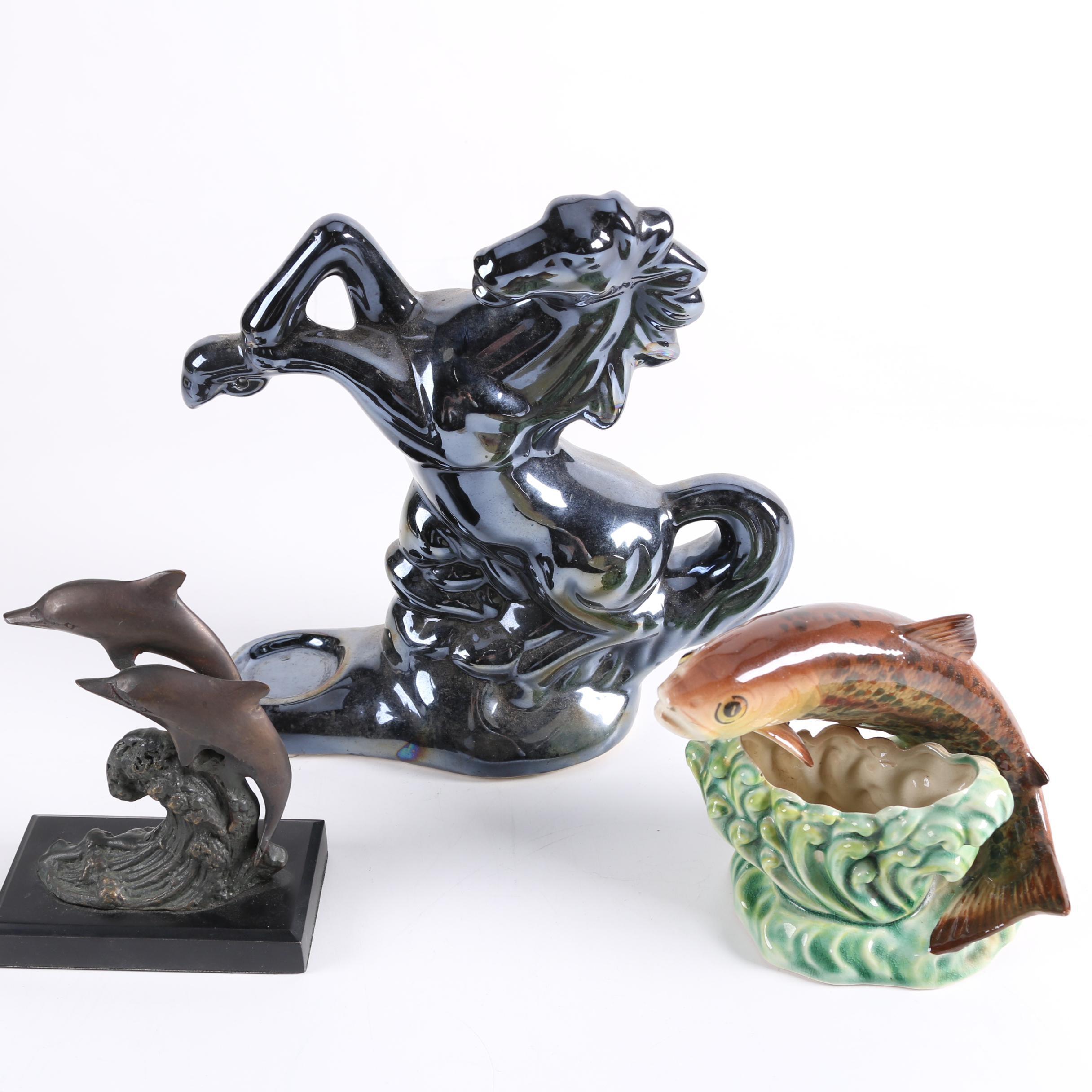 Metal and Ceramic Animal Figurines Including Marex