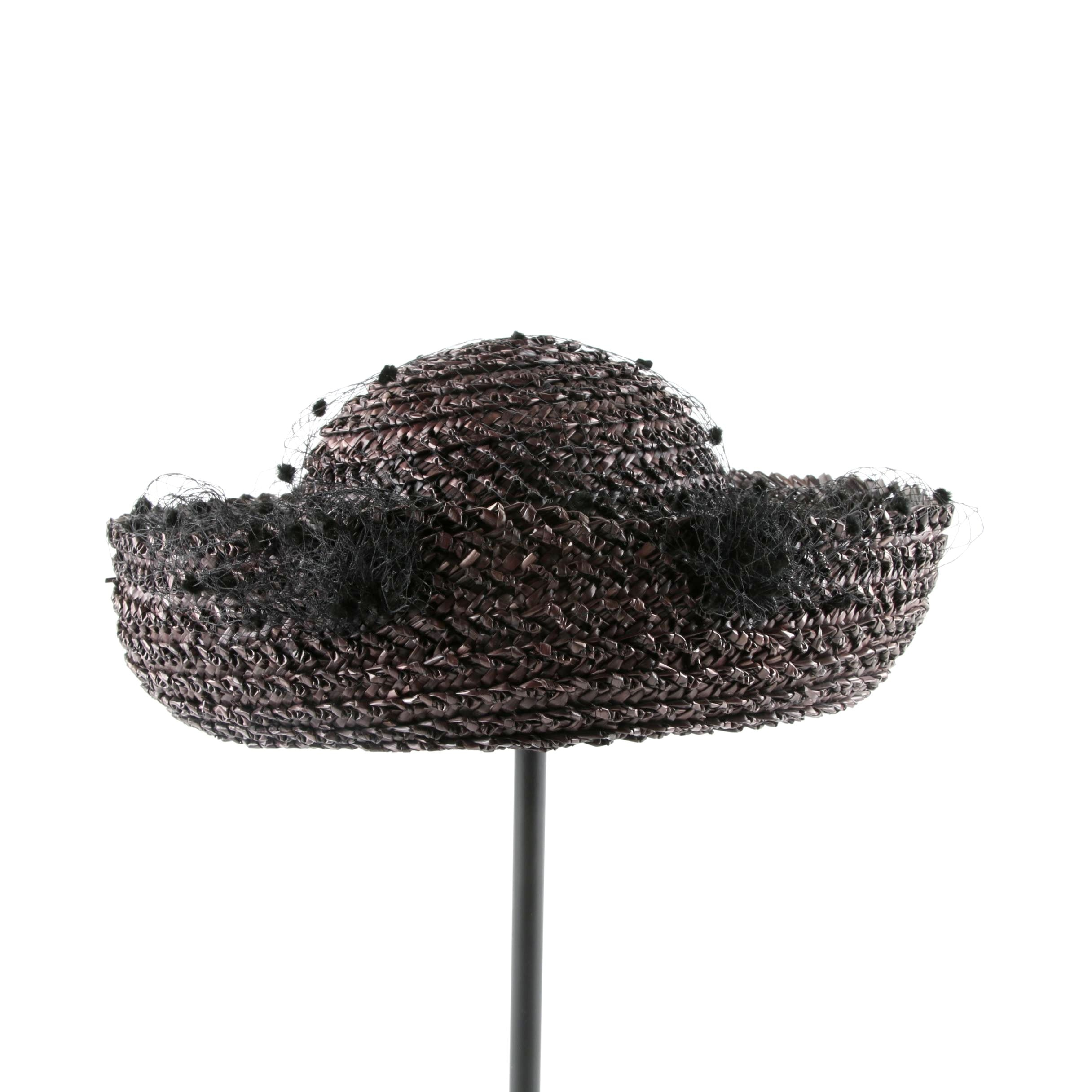 Vintage Oscar de la Renta Millinery Black Bumper Hat with Flocked Netting
