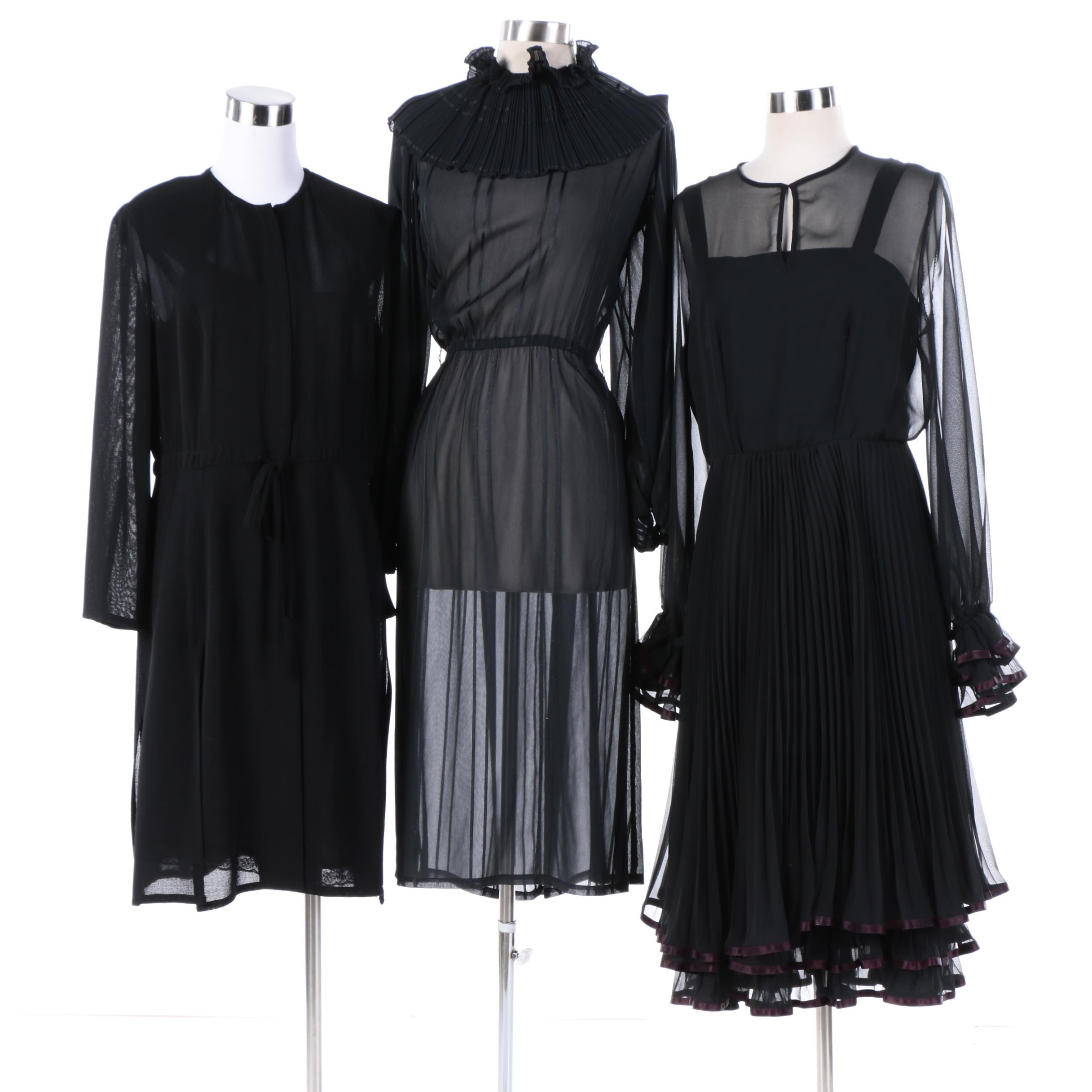 1980s Vintage Black Chiffon Evening Dresses Including Rena Lange
