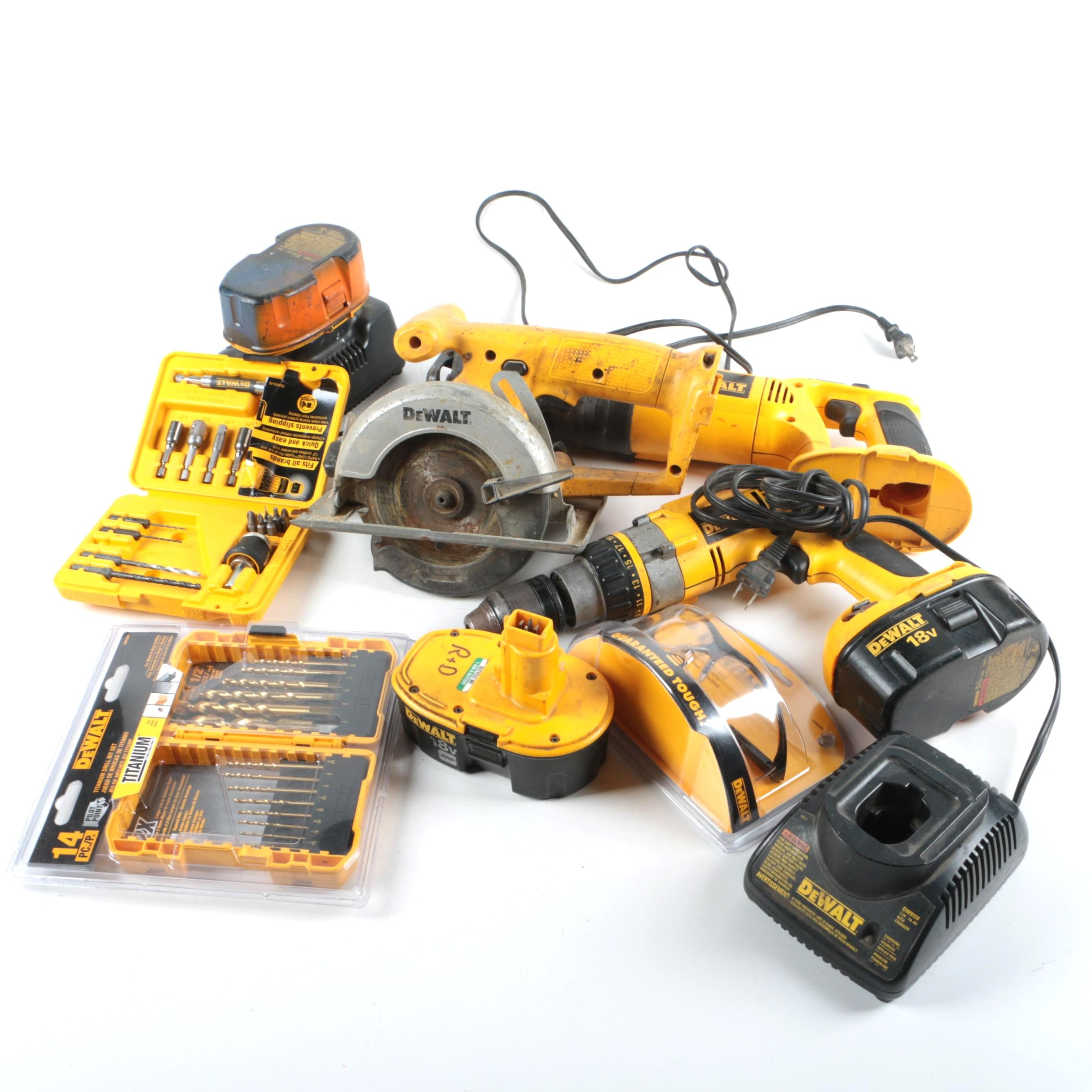 DeWalt Cordless Tools Including Circular Saw, Reciprocating Saw, and Drill