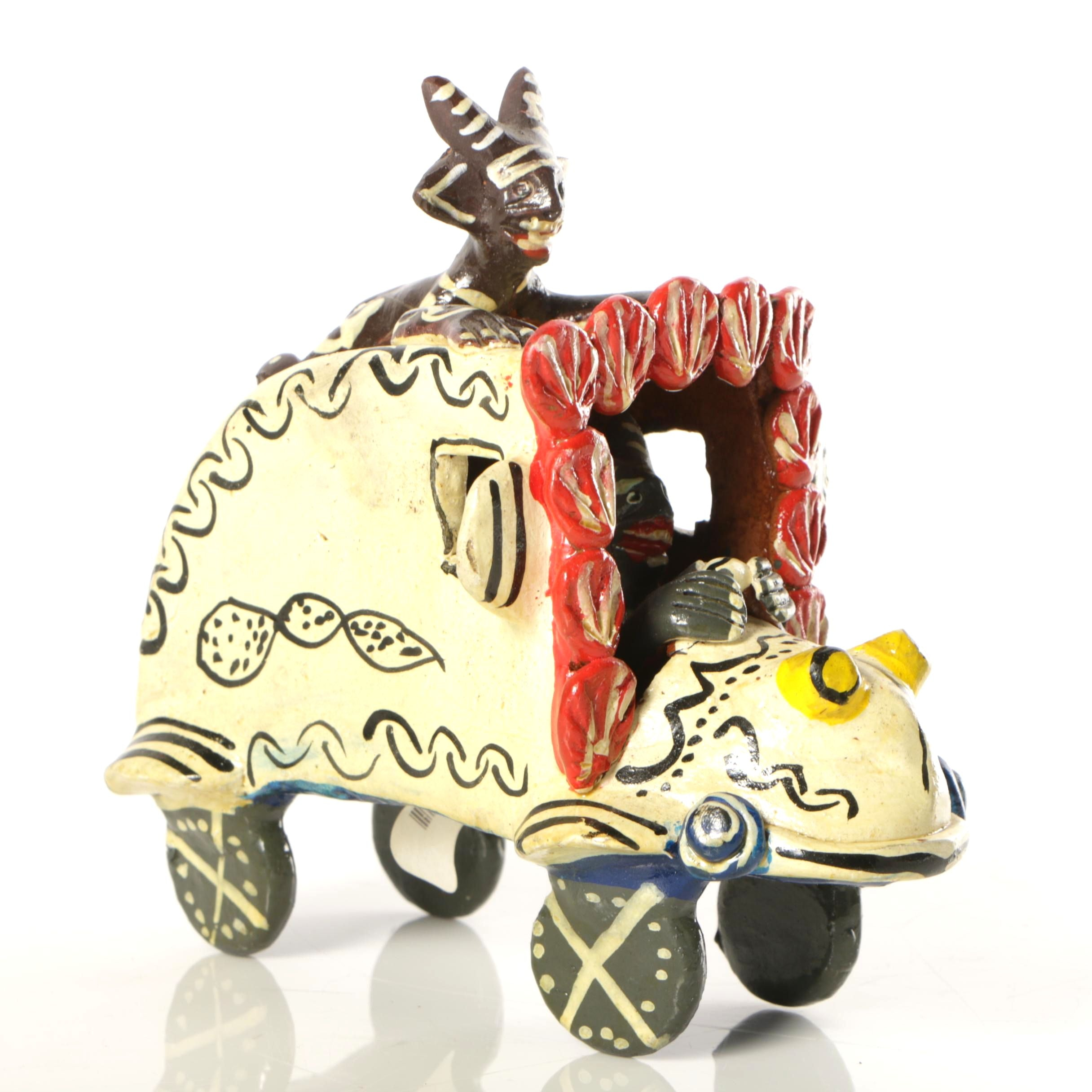 Folk Art Style Ceramic Sculpture of Car with Figures
