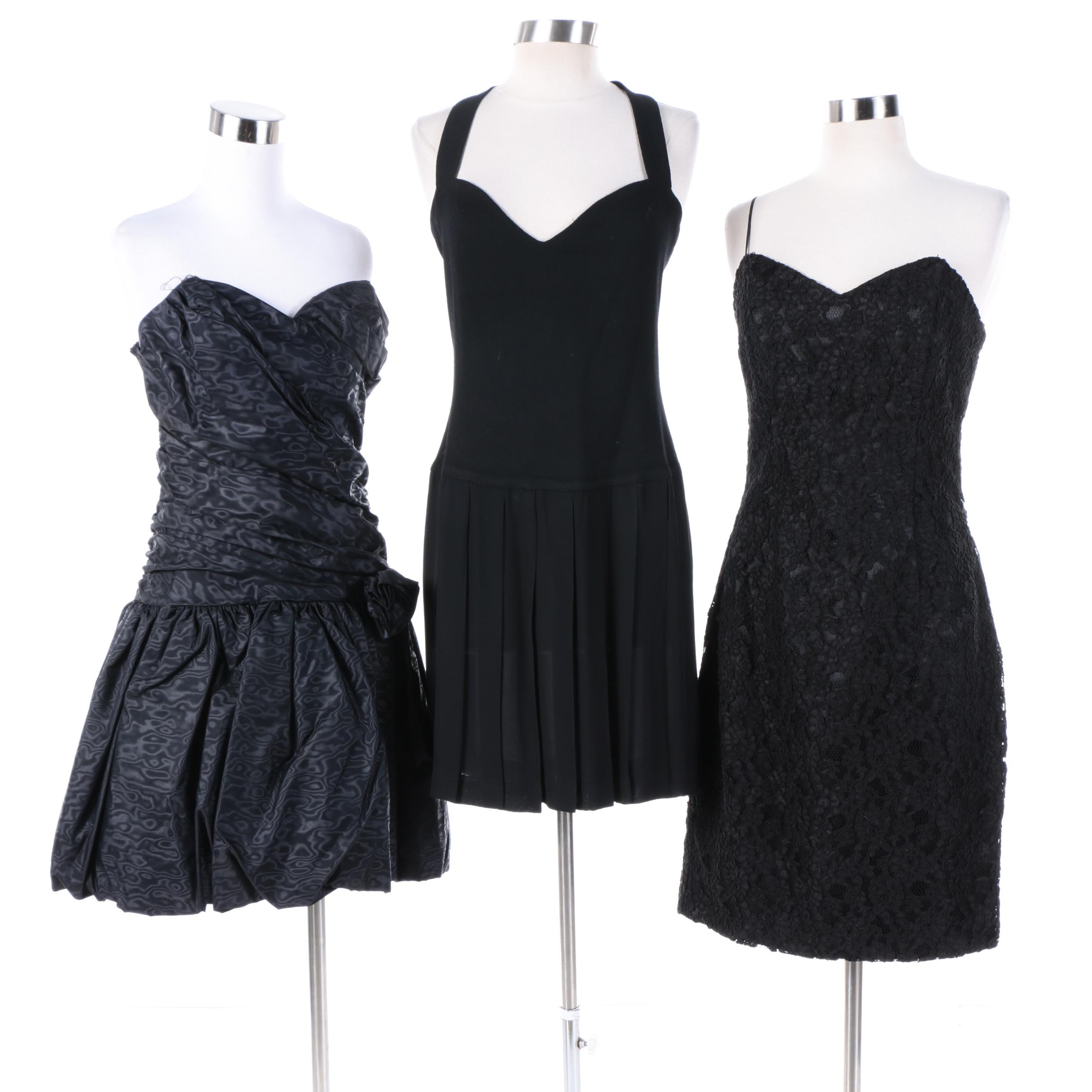 1980s Vintage Black Party Dresses Including Donna Karan, Jessica McClintock