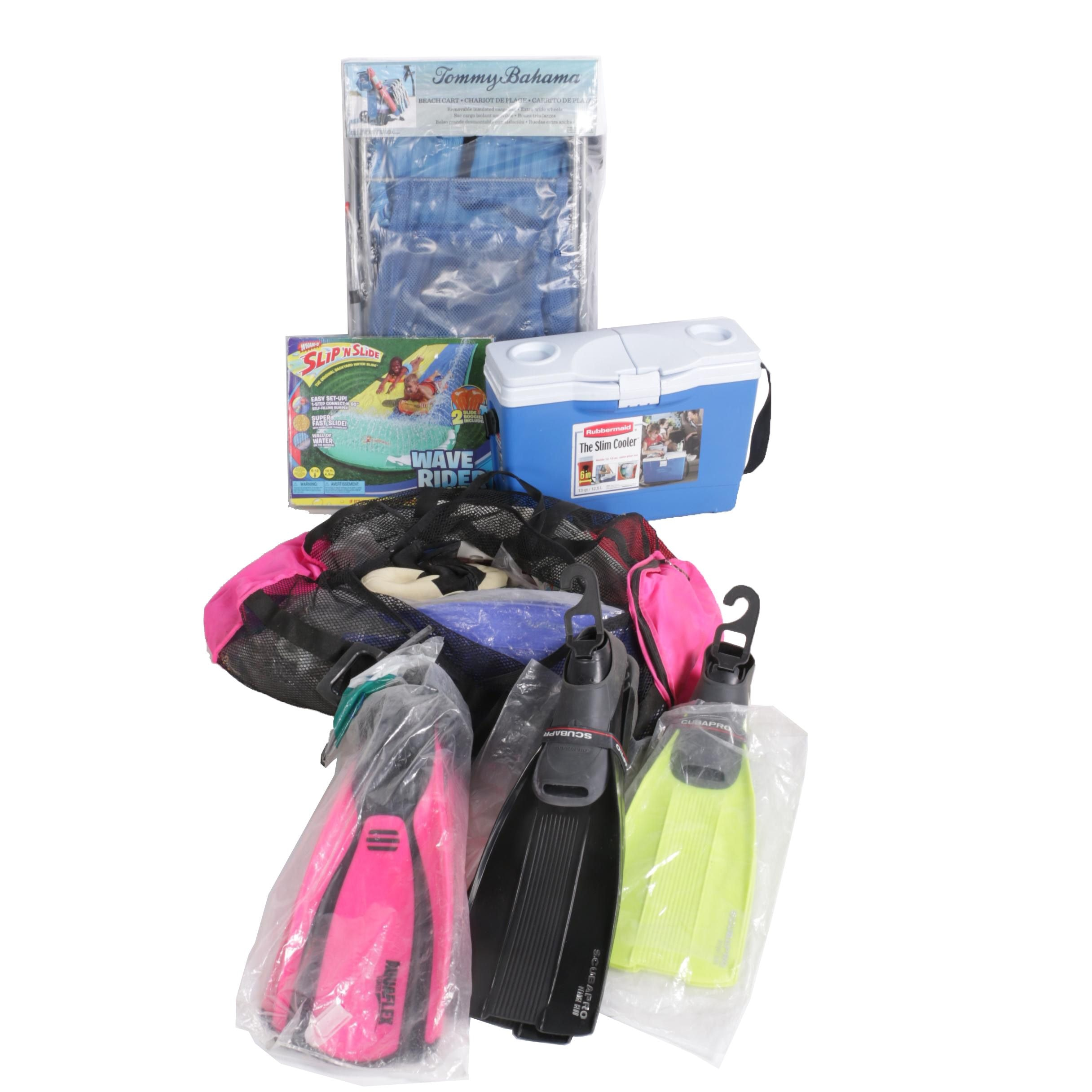 Assortment of Beach Items Including Foot Fins, Cooler, Beach Cart and More