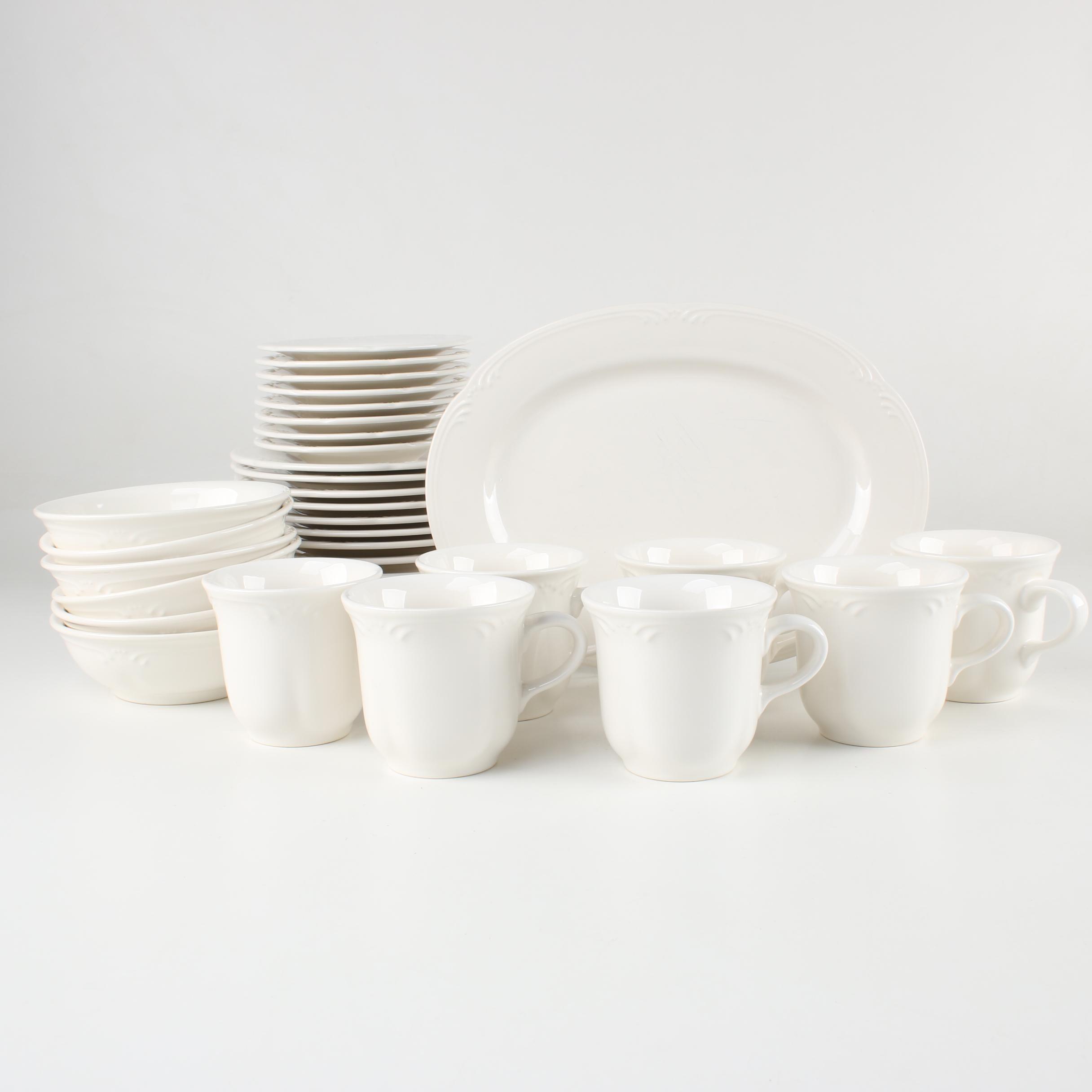 Pfaltzgraff White Stoneware Serving Platter and Dinnerware