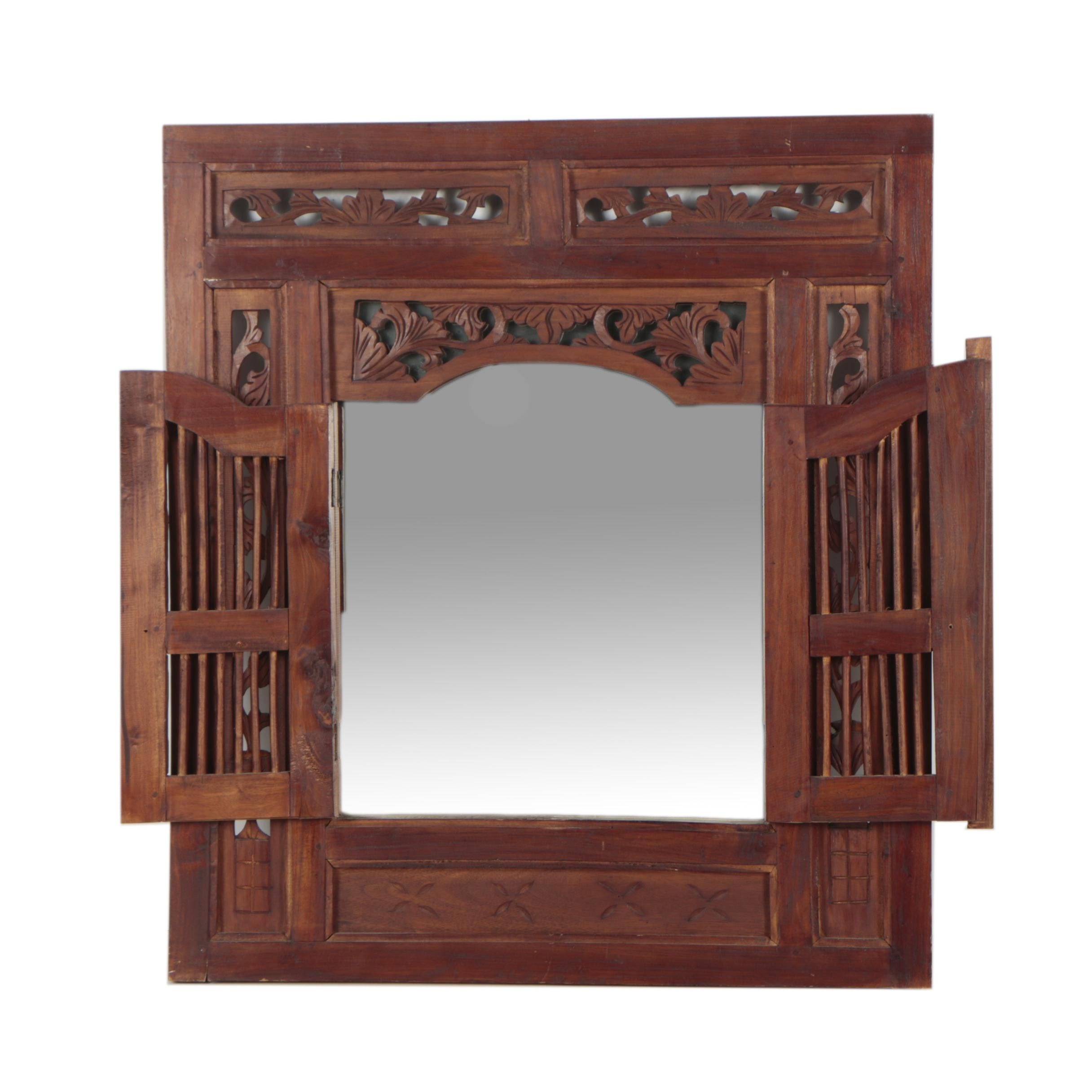 Teak Wood Framed Wall Mirror with Doors