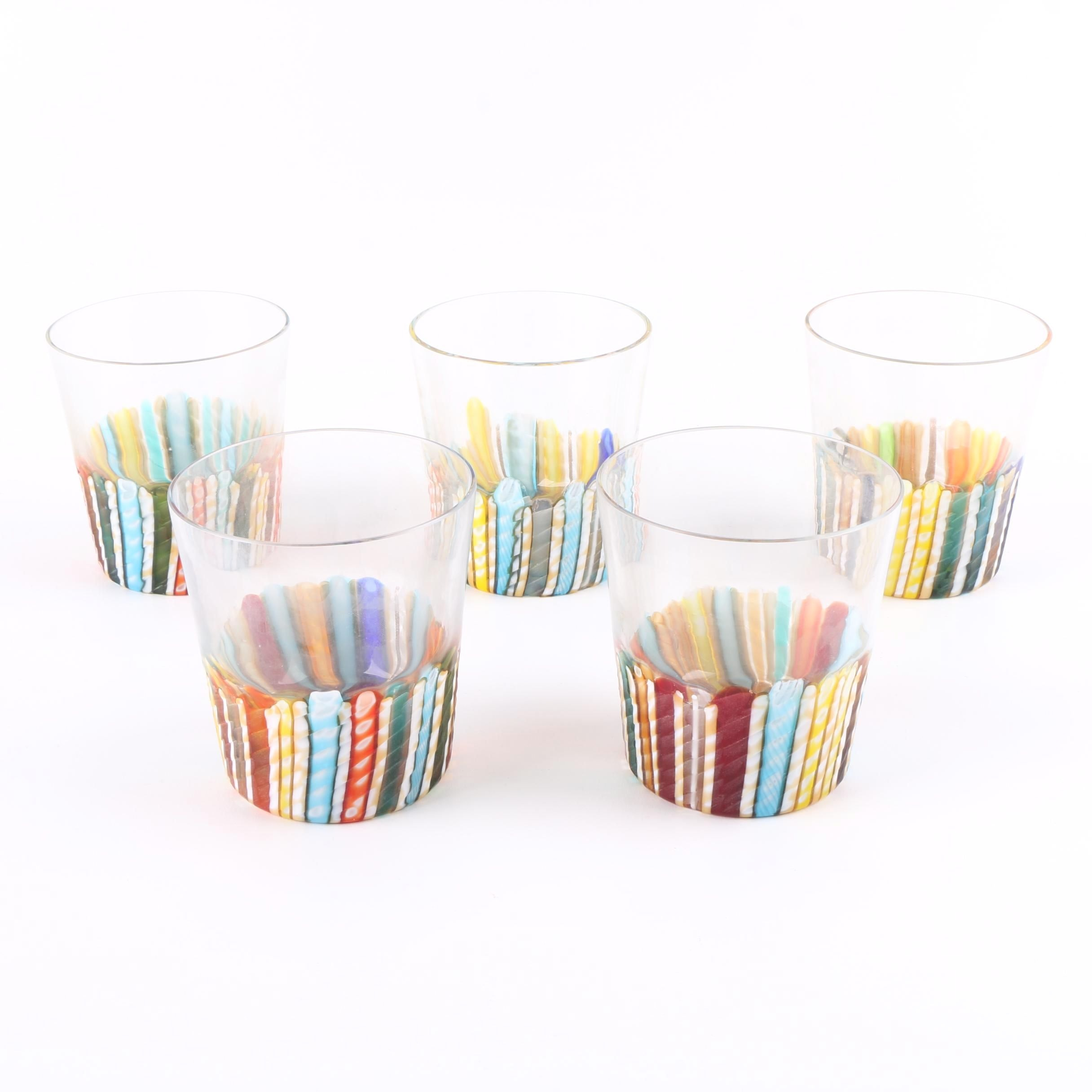 Signed Murano Glass Tumblers with Colorful Canes
