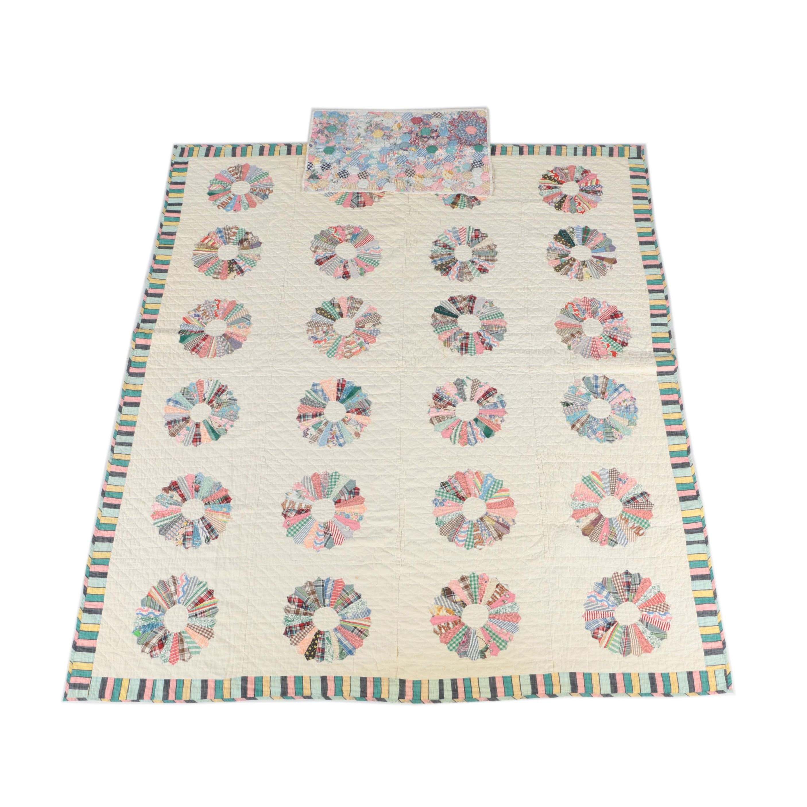 """Vintage Handcrafted """"Dresden Plate"""" Quilt and Baby Quilt"""
