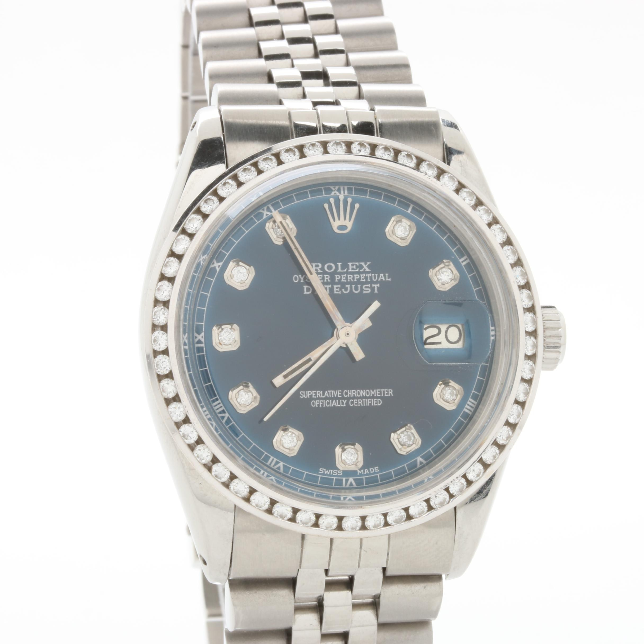 Rolex Stainless Steel Datejust 1.27 CTW Diamond Blue Dial Wristwatch