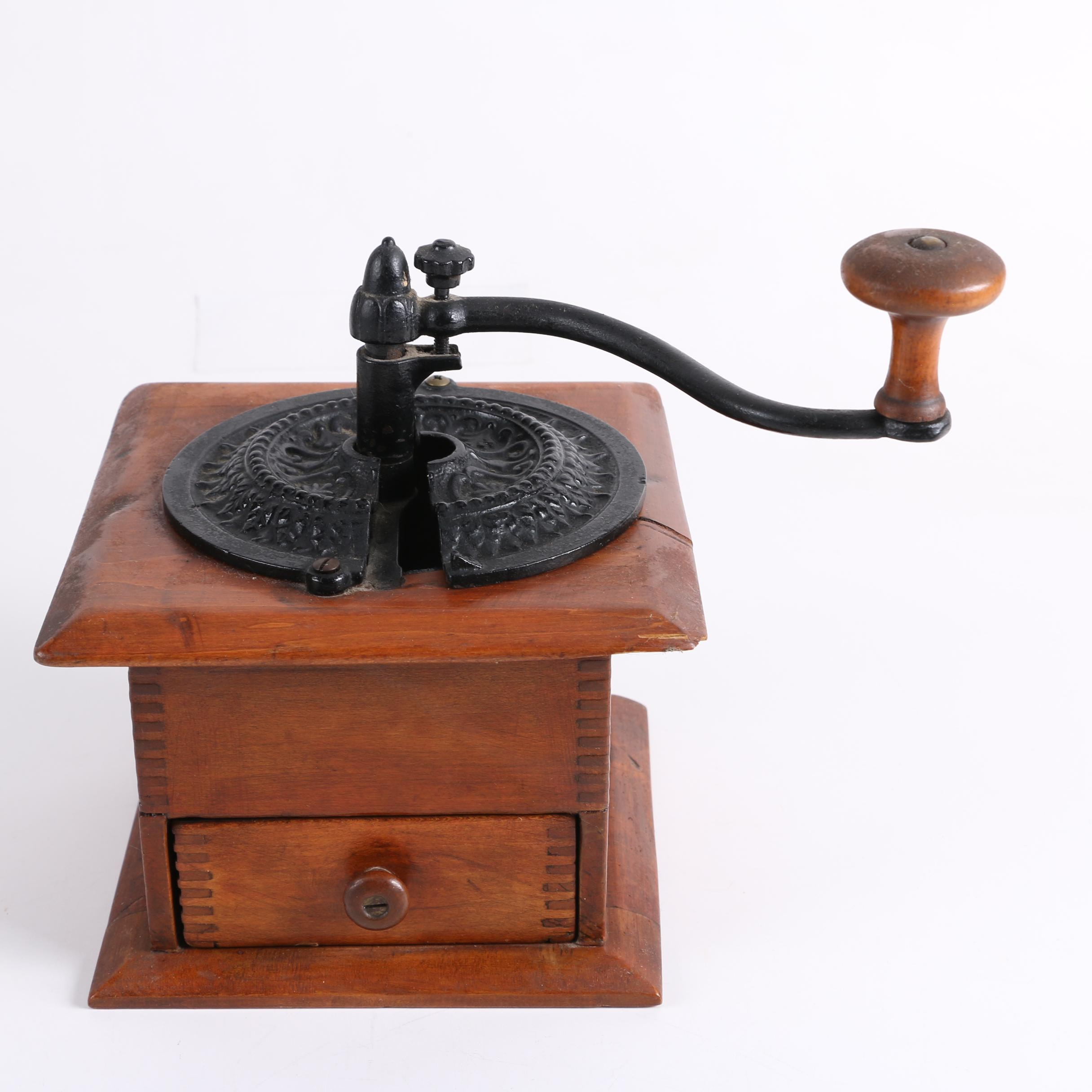 Antique Cast Iron and Wood Coffee Grinder