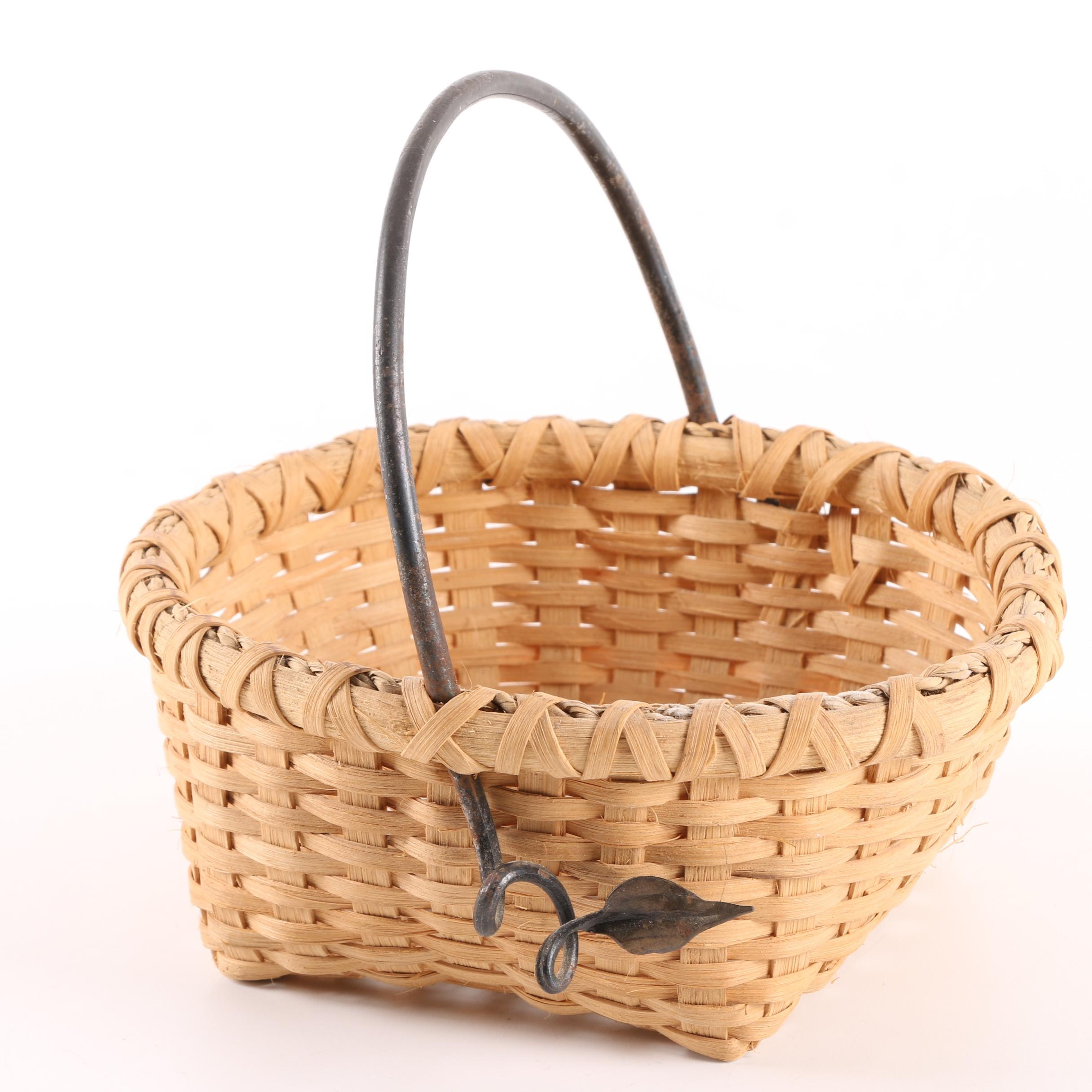 Woven Basket with Metal Handle