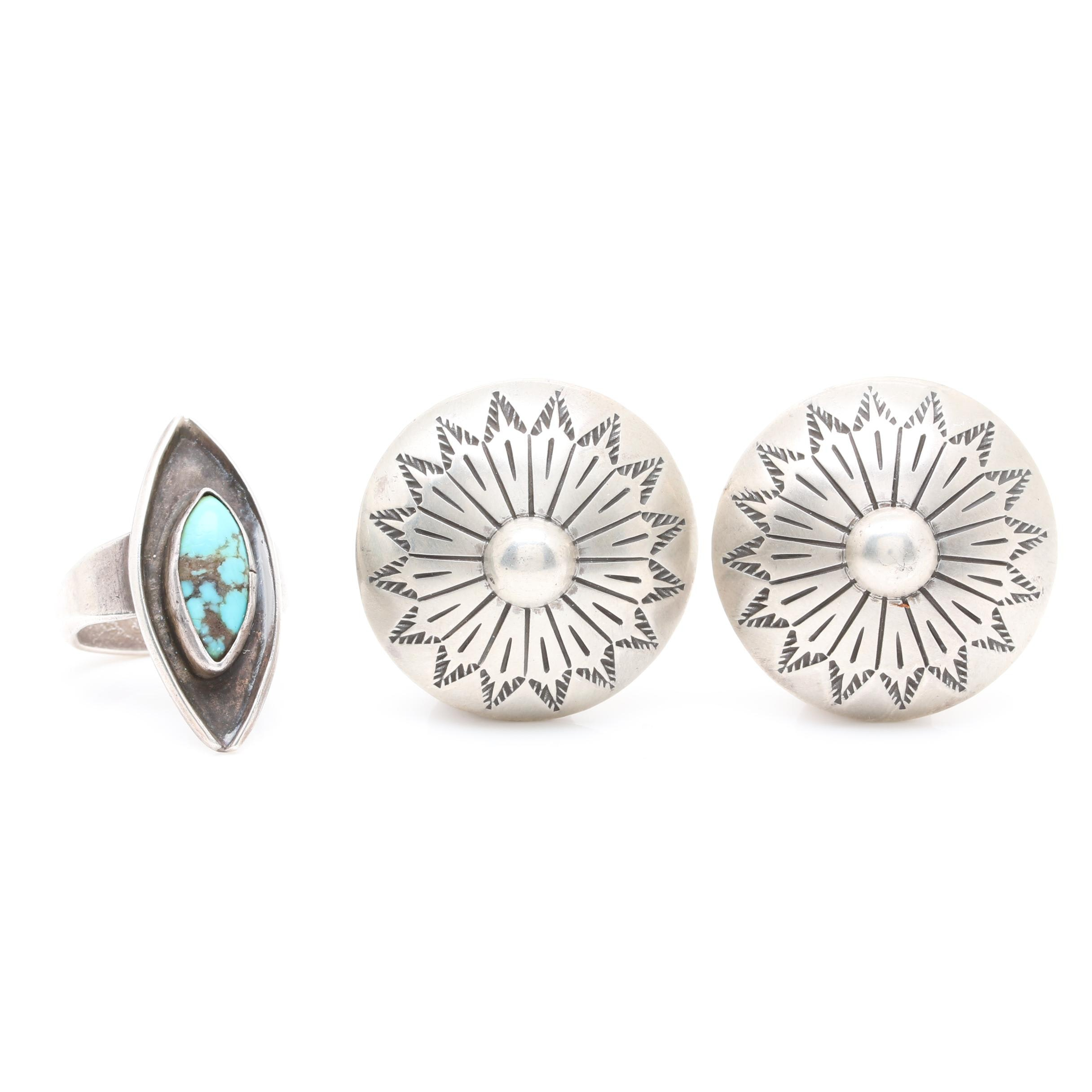 Kee Nataaini Navajo Diné Sterling Silver Concho Earrings with Turquoise Ring