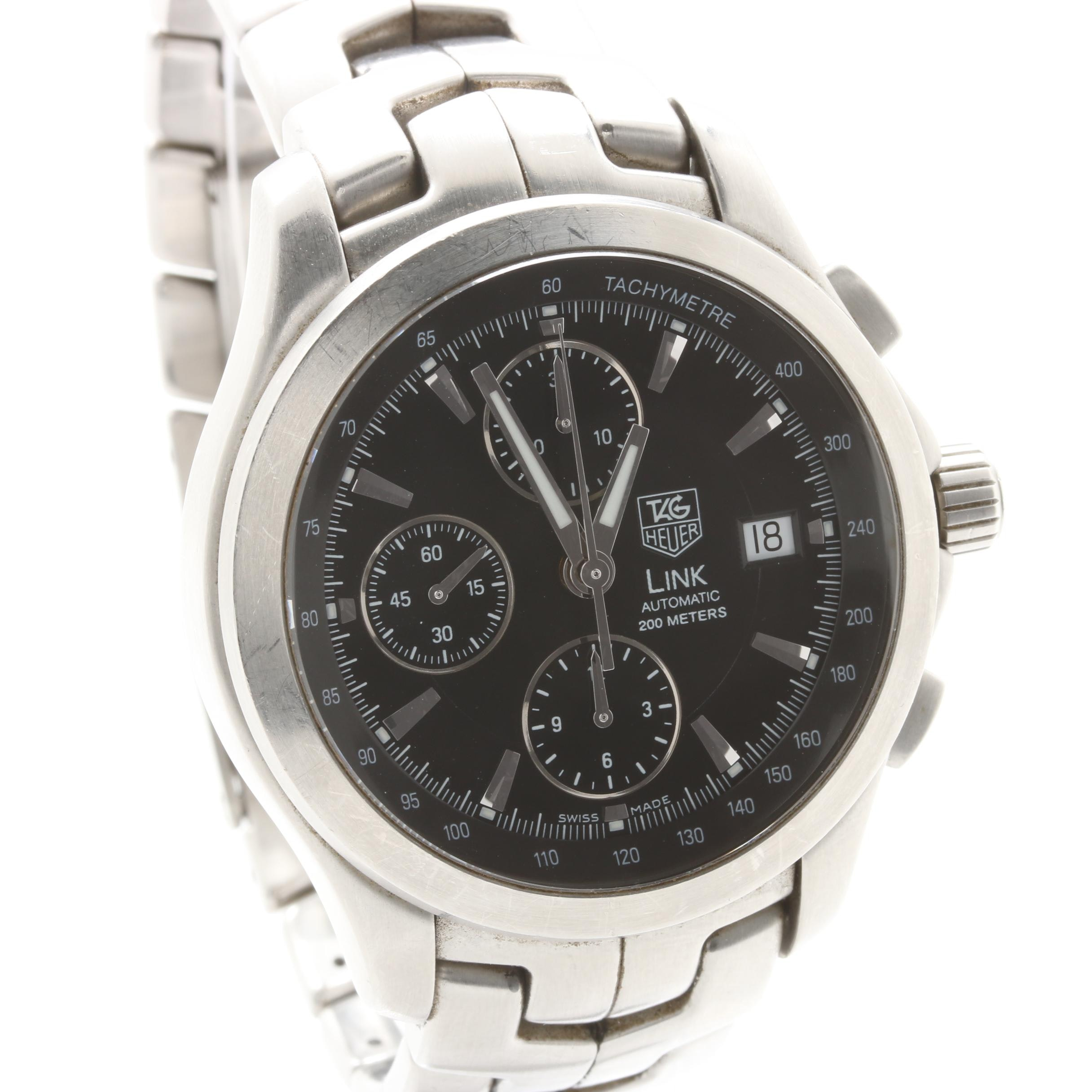 TAG Heuer Stainless Steel Black Dial Wristwatch with Date Window