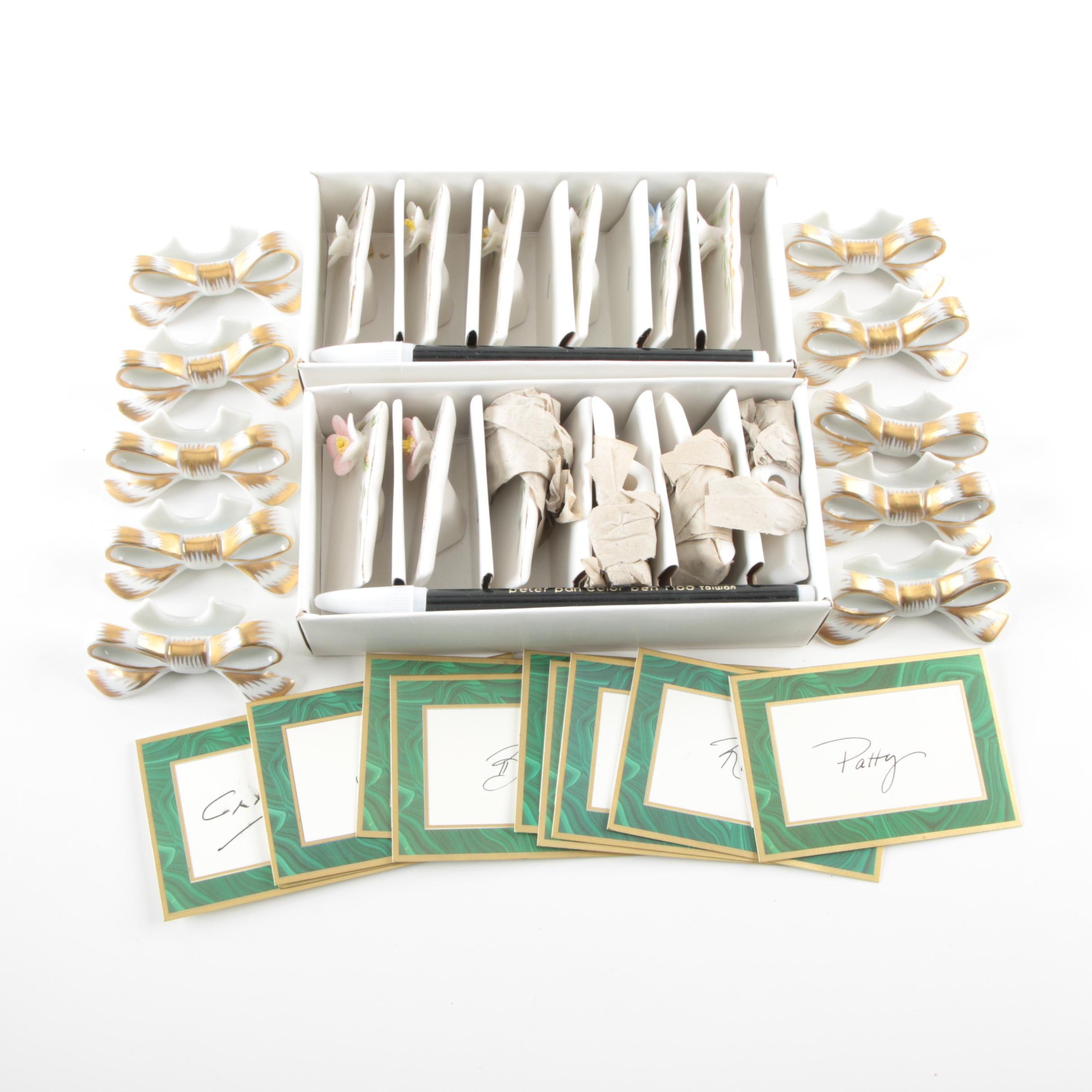 Caspari Place Cards with Porcelain Bow and Floral Place Card Holders