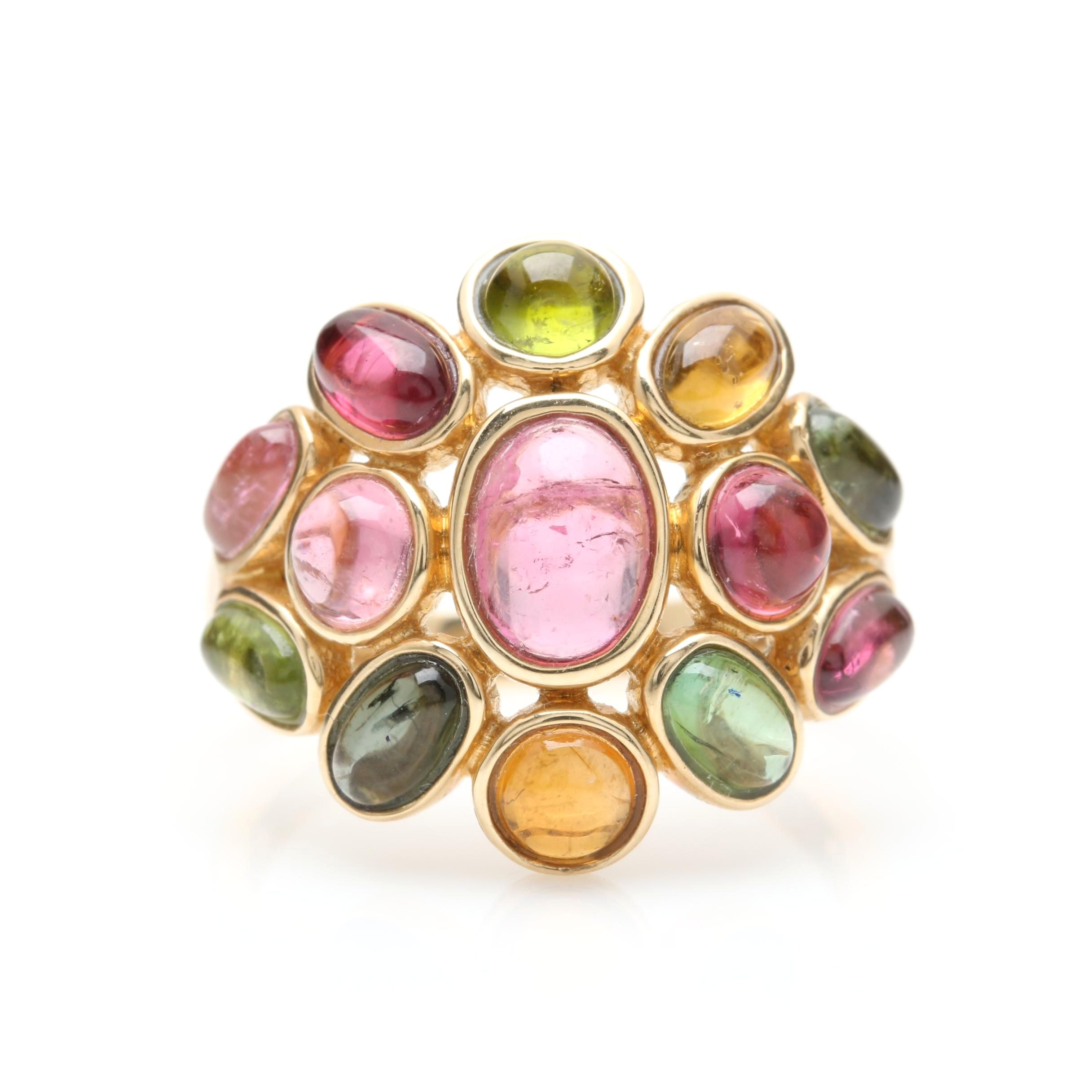 14K Yellow Gold Pink Tourmaline, Green Tourmaline, and Citrine Ring
