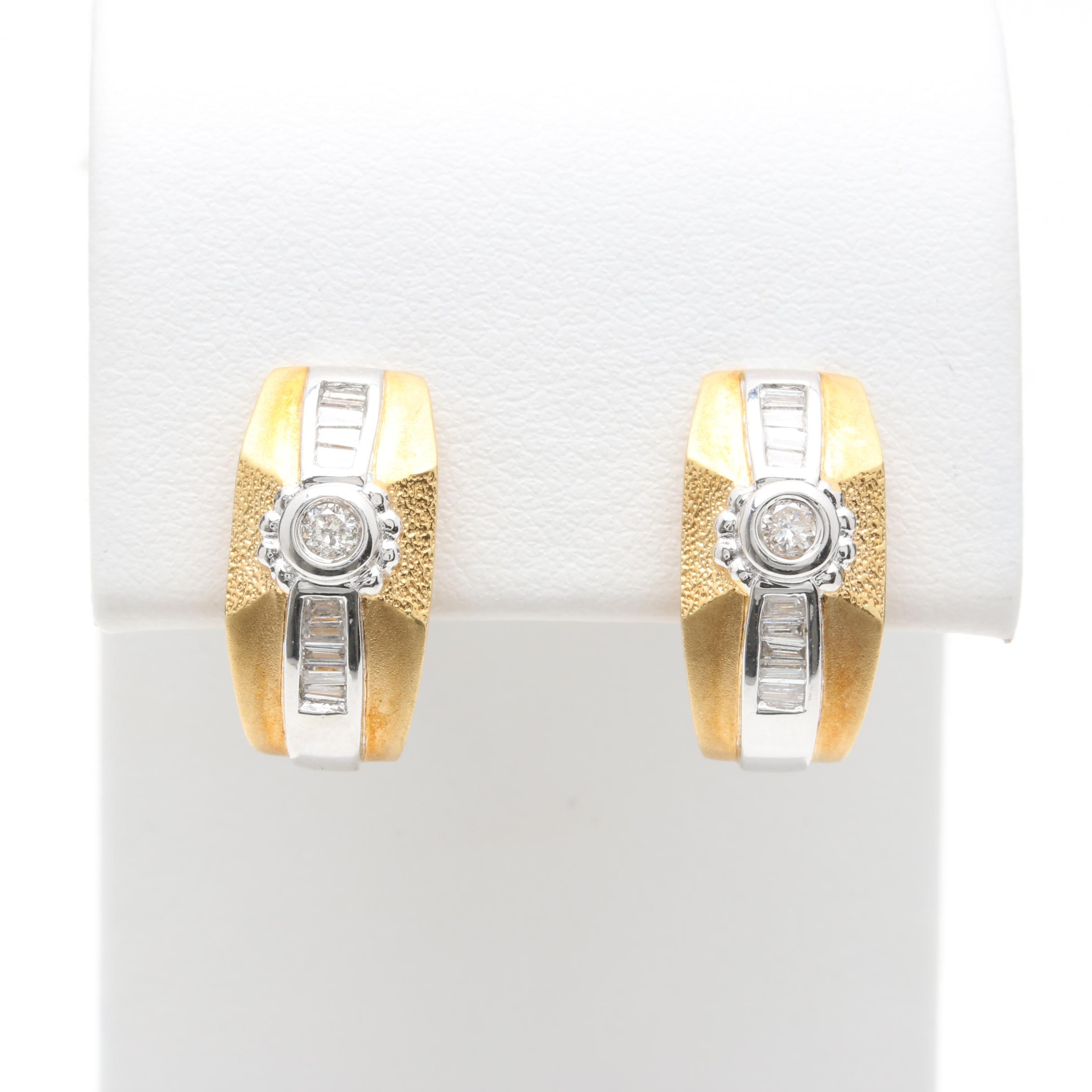 18K Yellow Gold and White Gold and Diamond Earrings