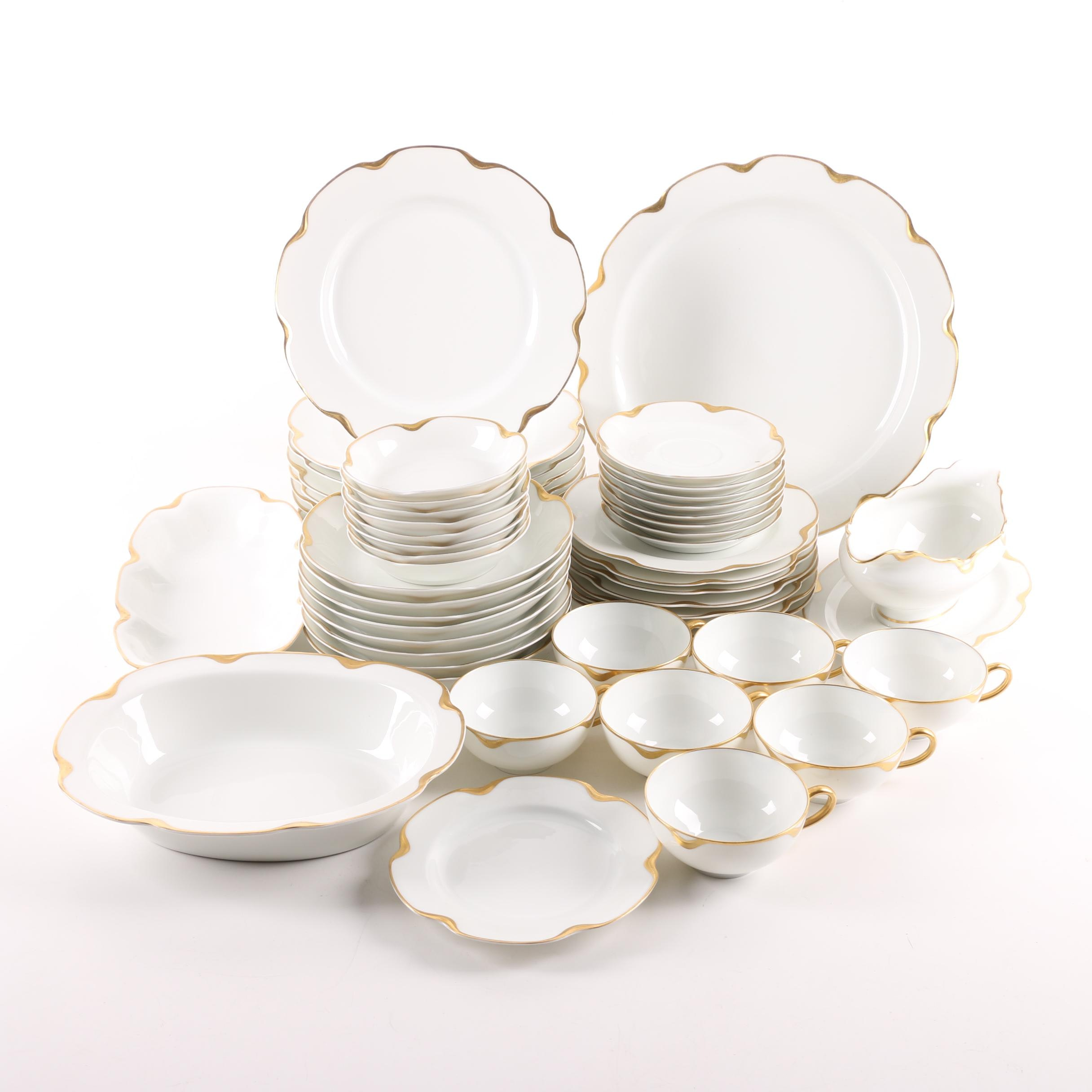 """Haviland & Co. Limoges """"Ranson"""" Porcelain Tableware with Gold Accents"""