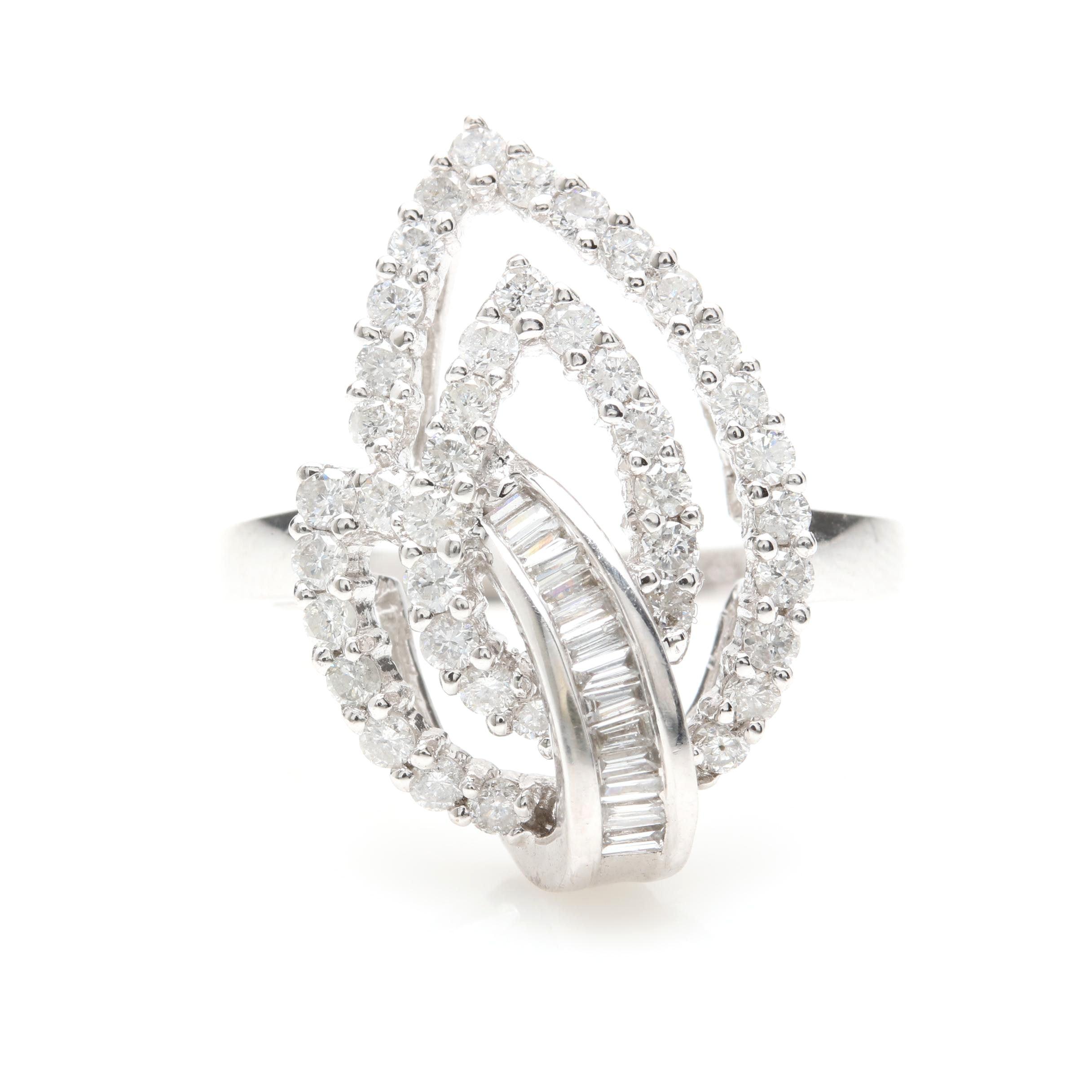 14K White Gold 0.76 CTW Diamond Ring