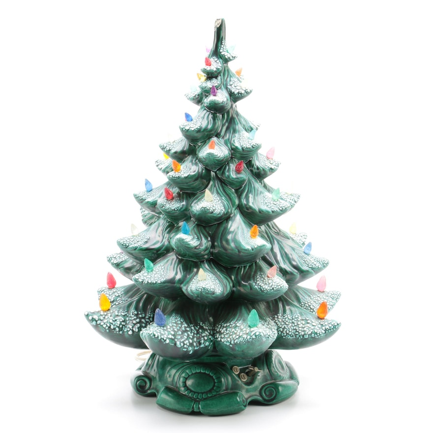 ceramic light up christmas tree with a music box in the base - Ceramic Light Up Christmas Tree