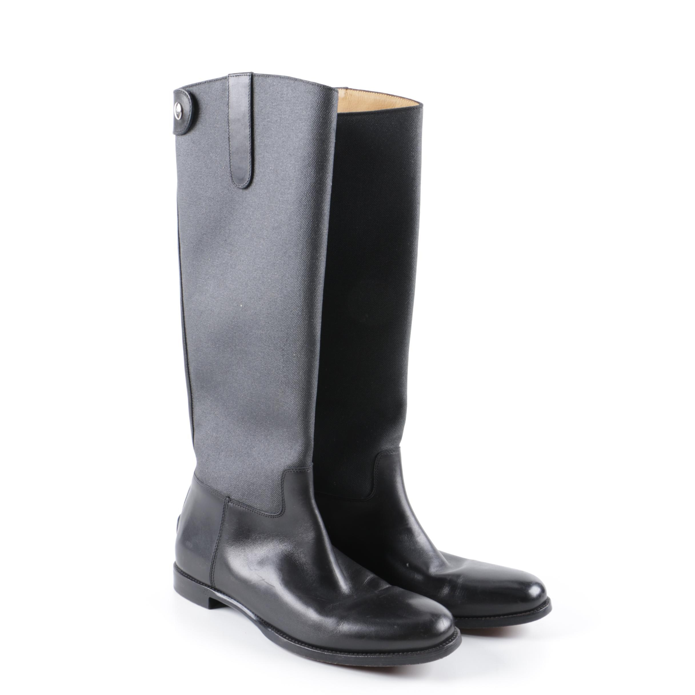 Women's Ralph Lauren Collection Black Leather and Canvas Riding Boots