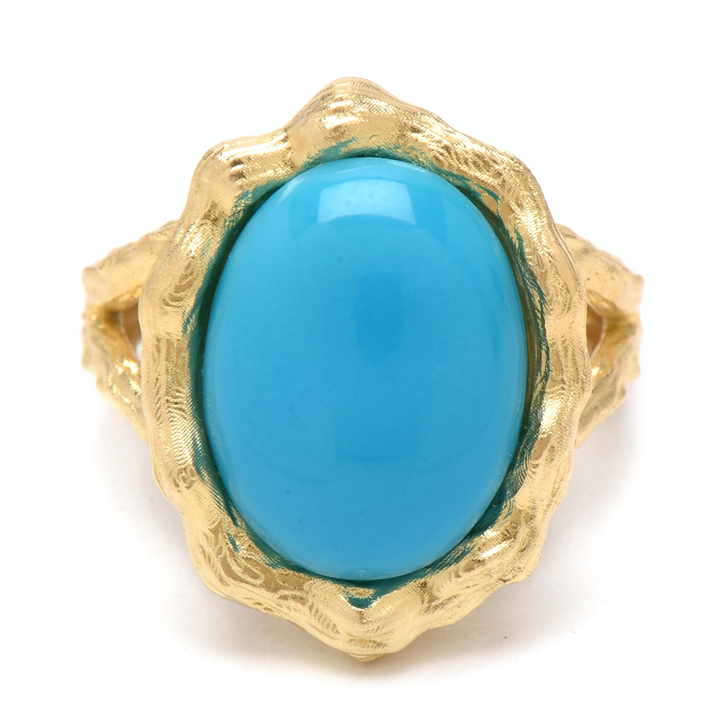 14K Yellow Gold Turquoise Textured Ring