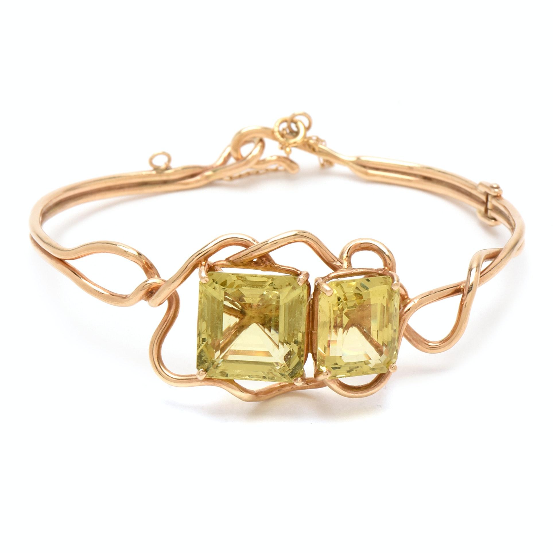 14K Yellow Gold Lemon Quartz Organic Style Bracelet