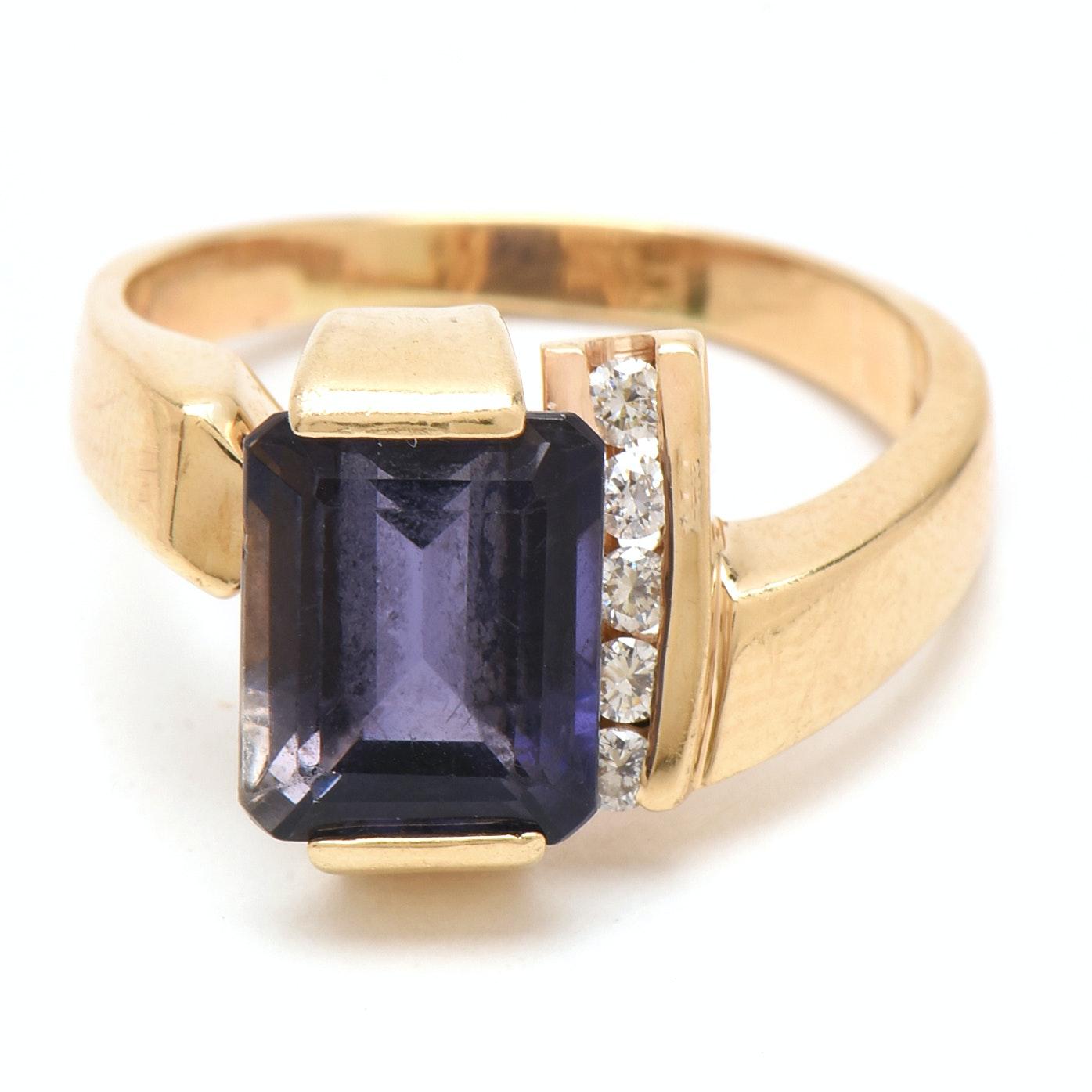 14K Yellow Gold Iolite and Diamond Ring