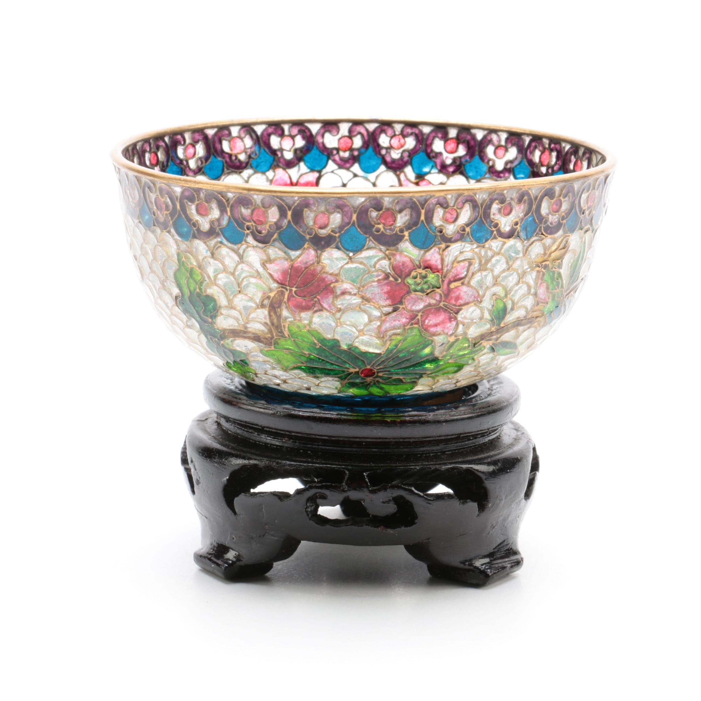 Japanese Plique-a-Jour Bowl and Stand