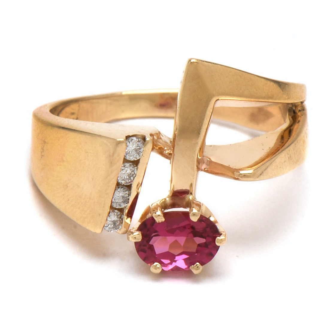 Modernist 14K Yellow Gold Rubellite and Diamond Ring