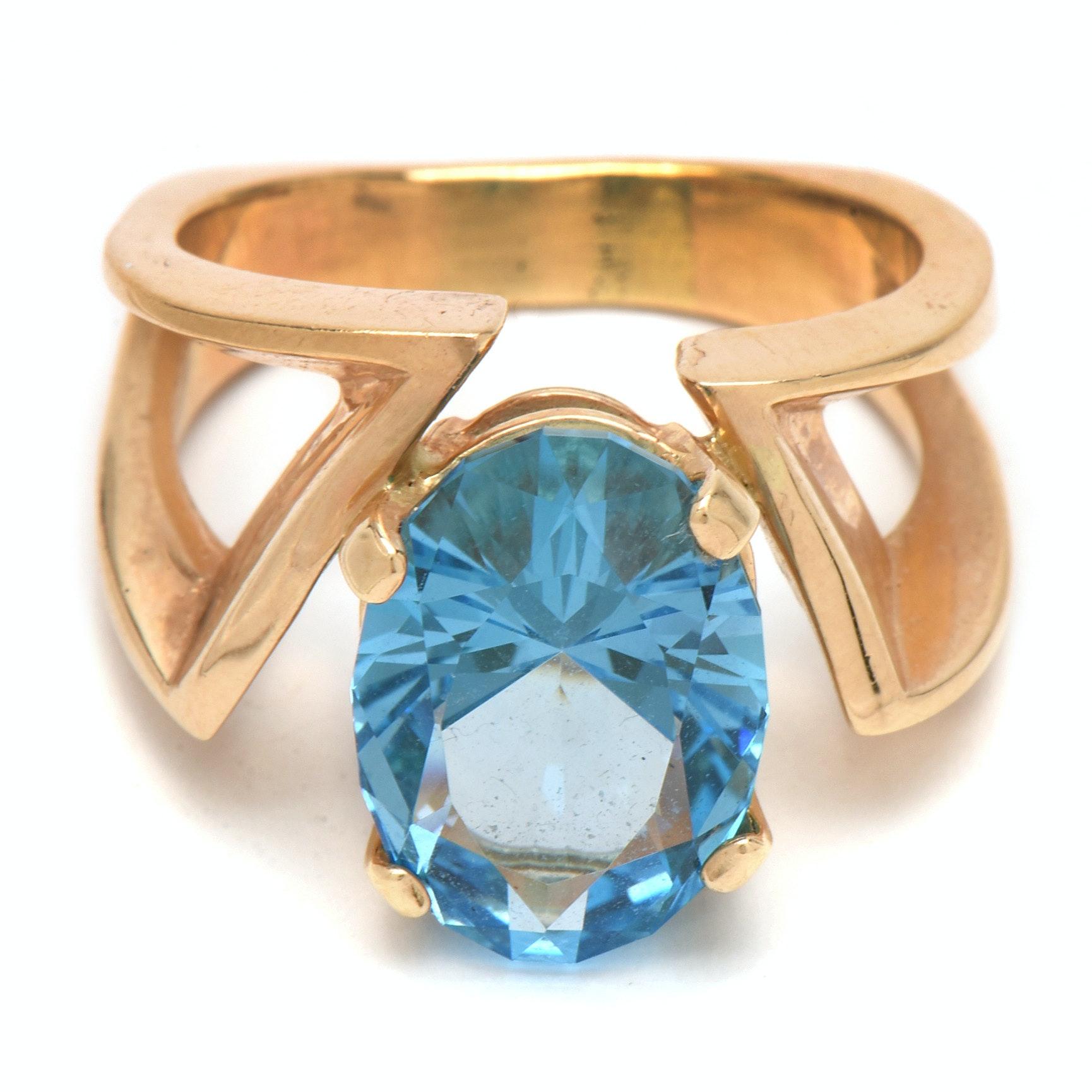 14K Yellow Gold 9.53 Carat Blue Topaz Cocktail Ring