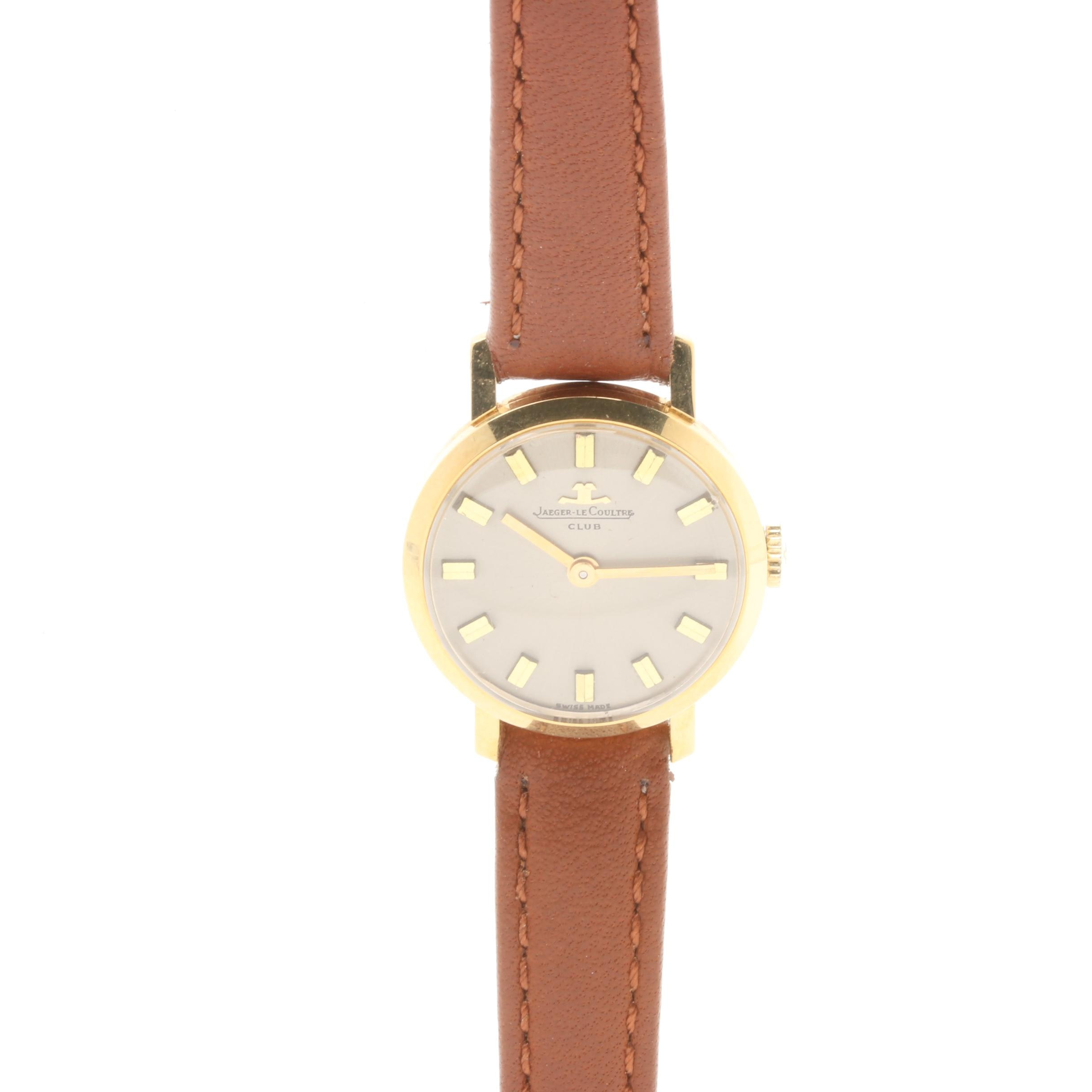 Jaeger-LeCoultre 18K Yellow Gold Brown Leather Wristwatch