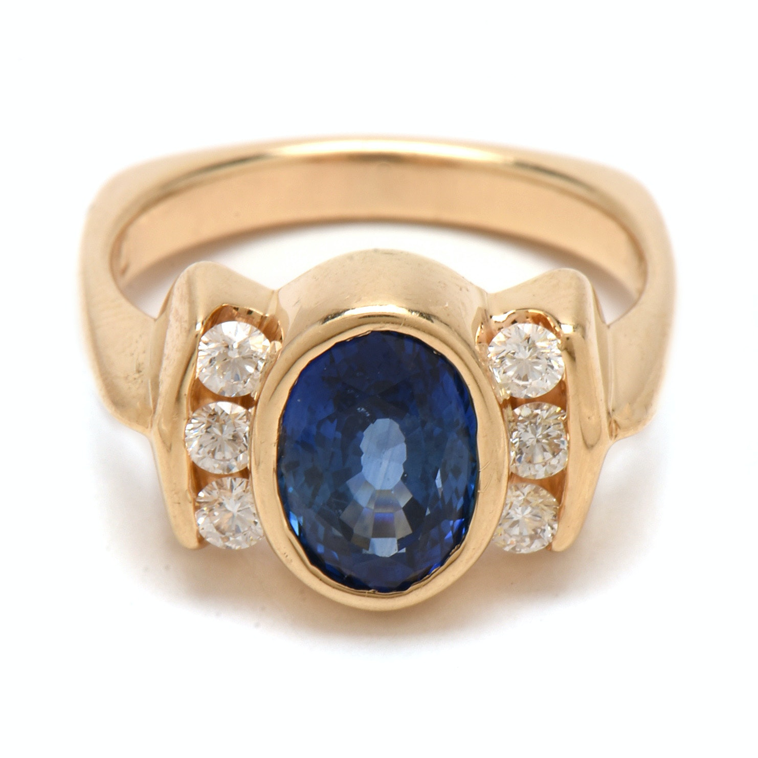 14K Yellow Gold 2.50 Carat Natural Sapphire and Diamond Ring